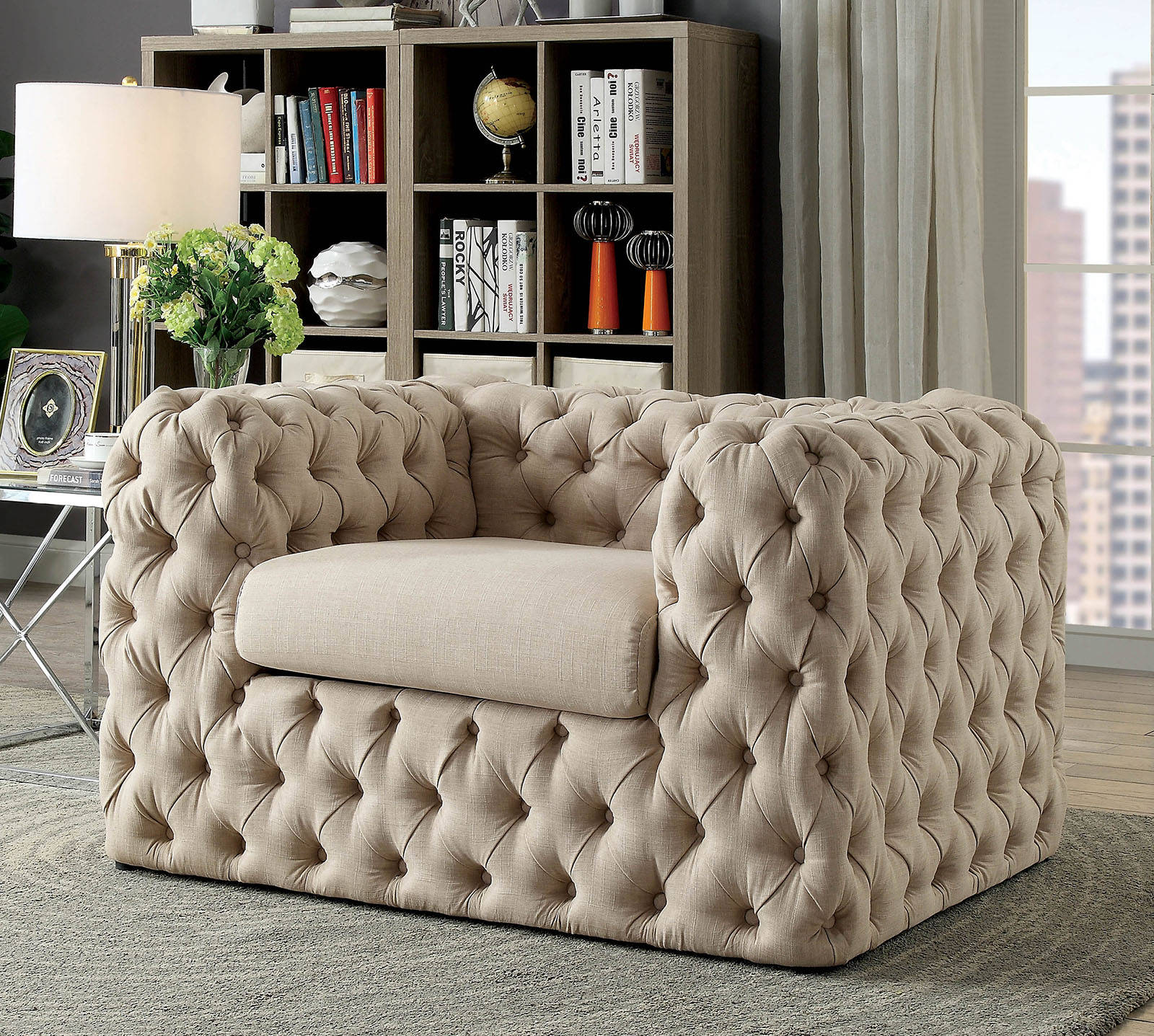 Furniture Of America Gia Beige Chair The Classy Home