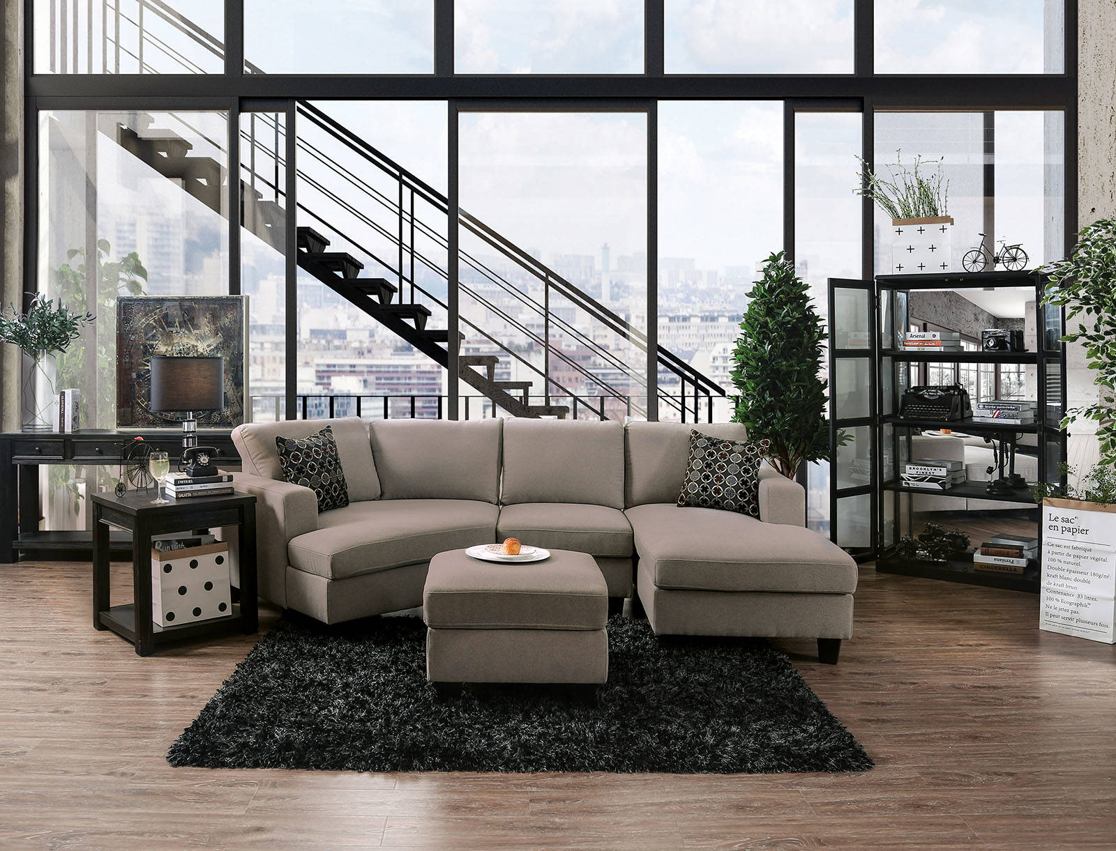 Remarkable Furniture Of America Traci Light Gray 4Pc Sectional With Ottoman Short Links Chair Design For Home Short Linksinfo
