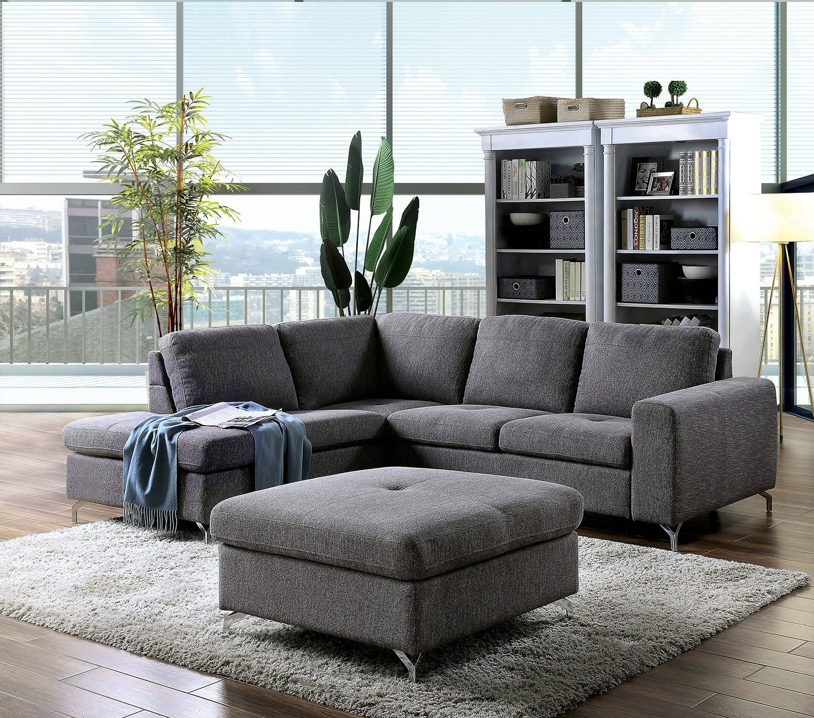 Furniture Of America Lizzie Gray Sectional With Ottoman