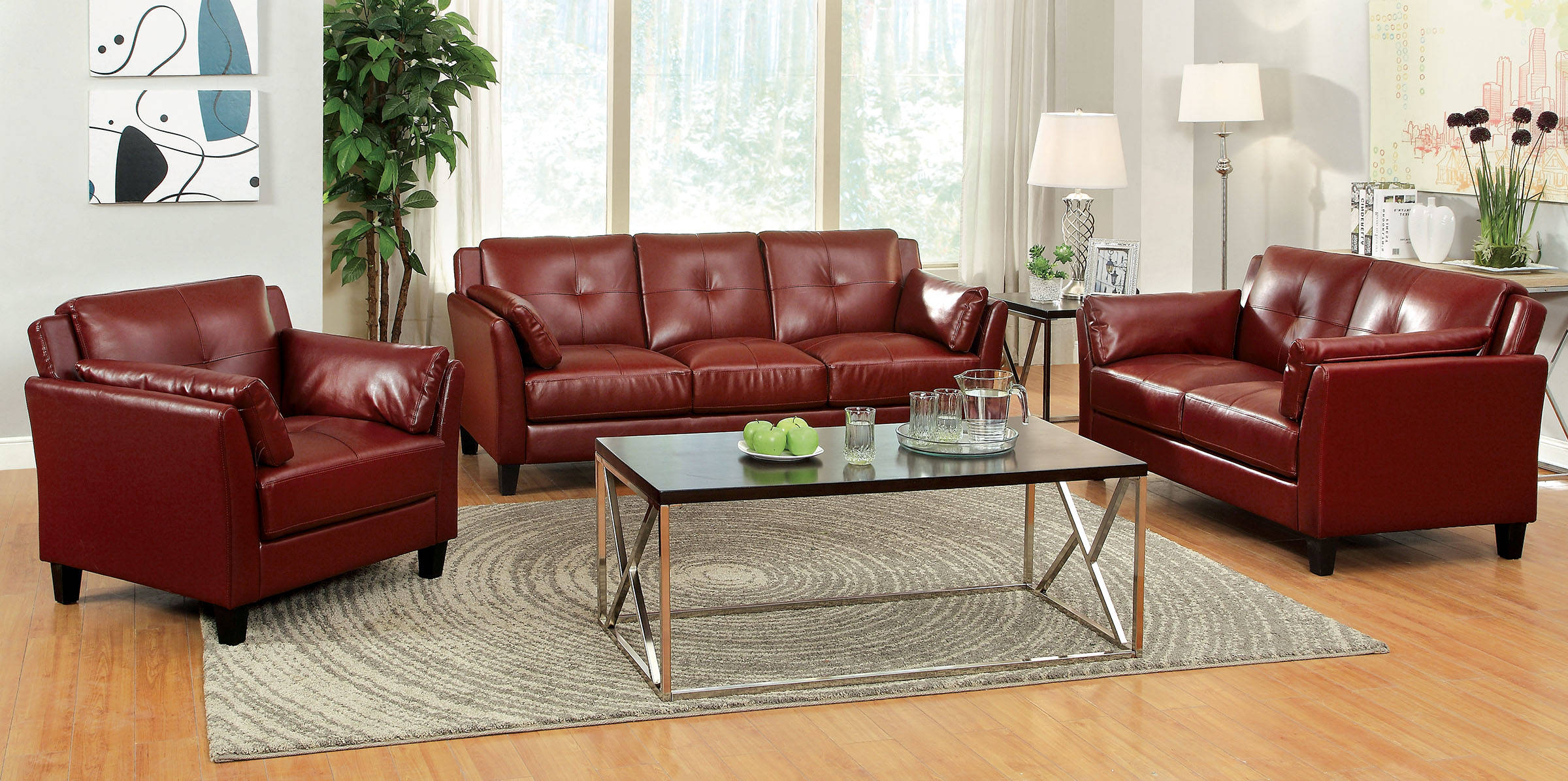 Furniture of America Pierre Red 2pc Living Room Set