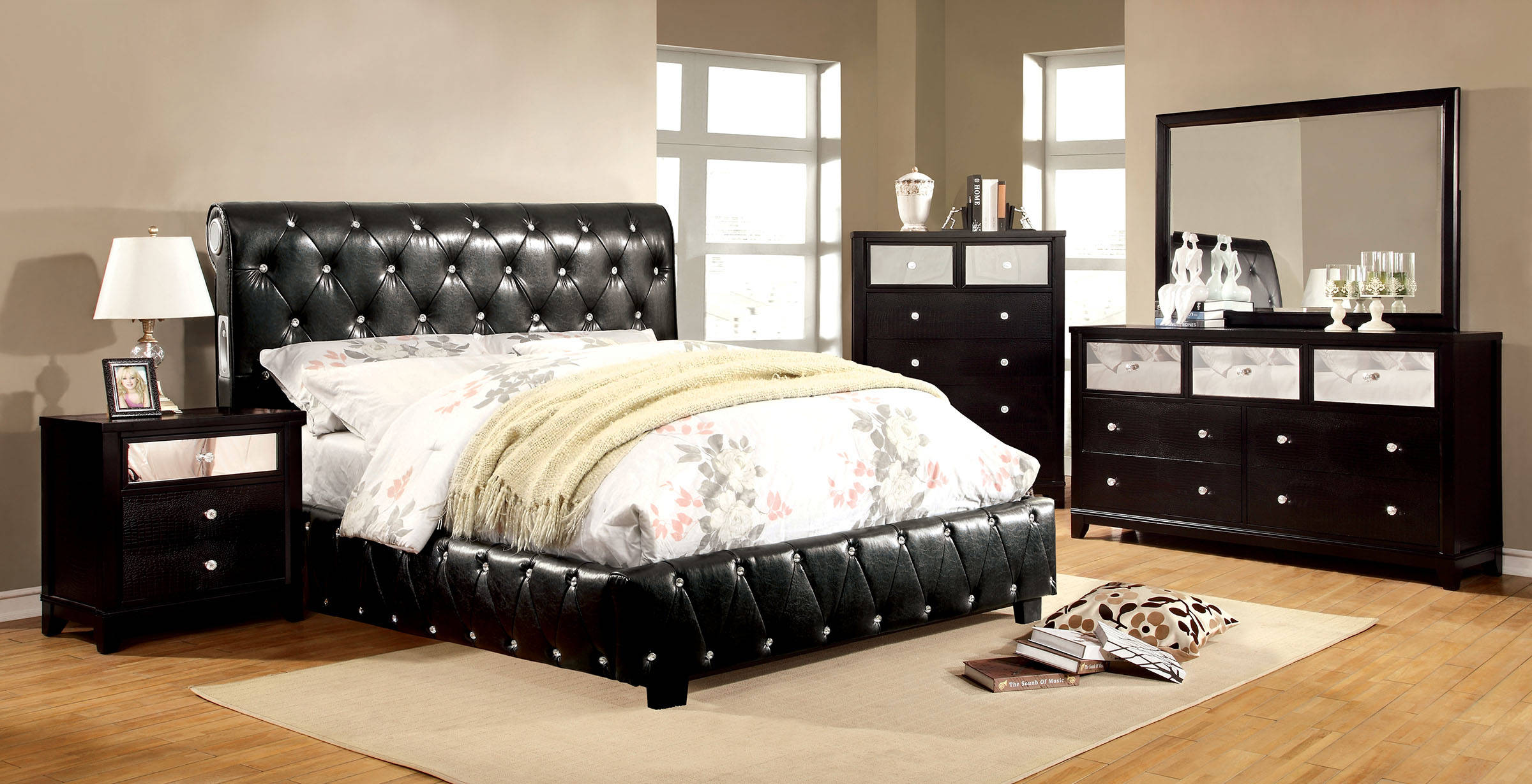 Juilliard Contemporary Solid Wood Leatherette Master Bedroom Set Bedrooms The Classy Home