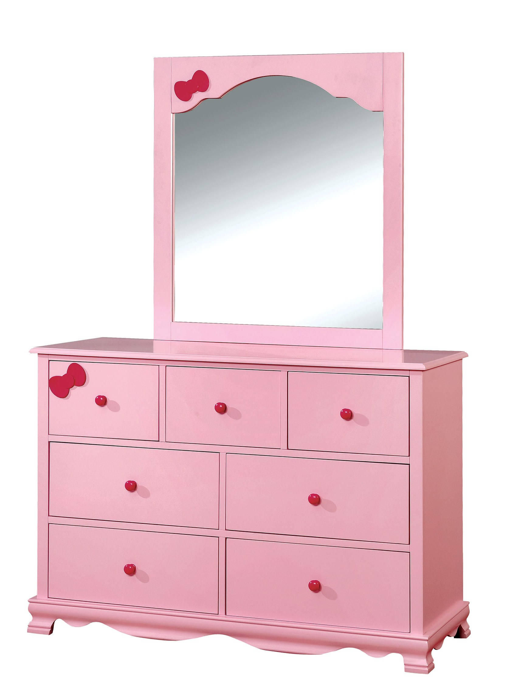 Furniture Of America Dani Pink Dresser And Mirror Click To Enlarge