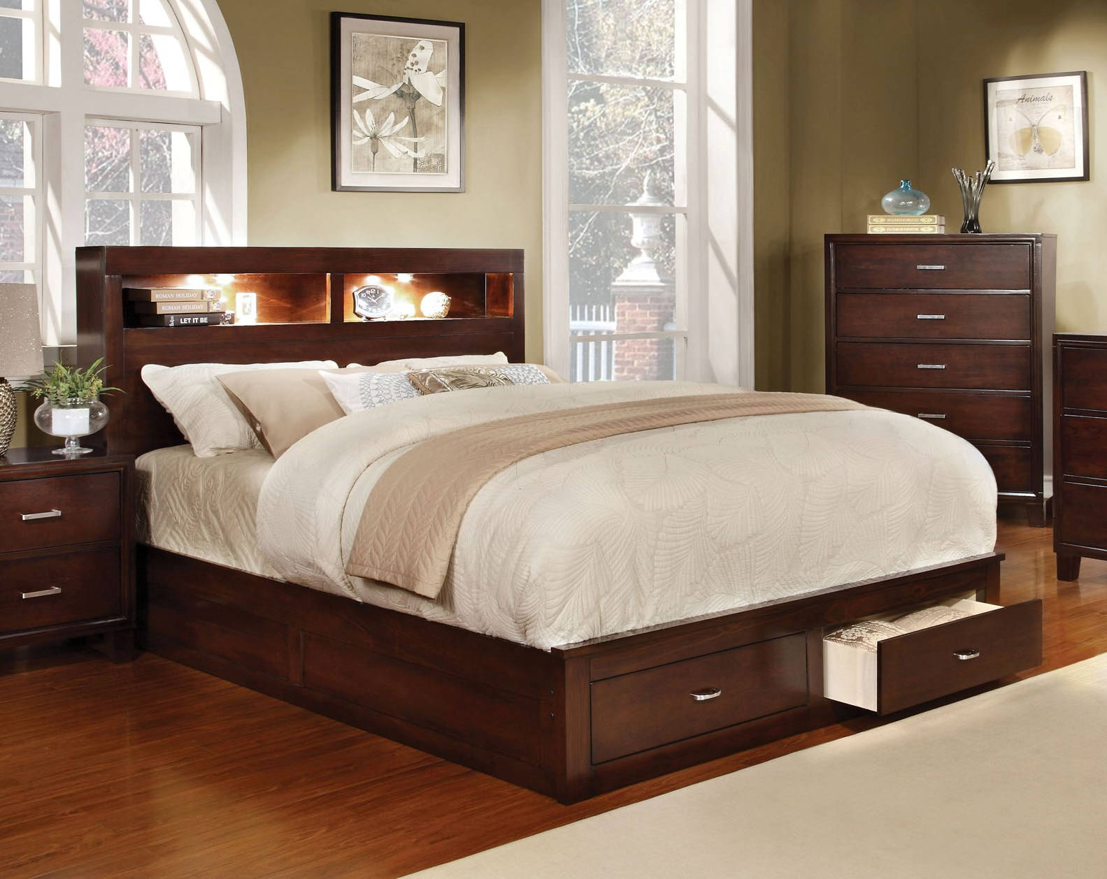 Furniture Of America Gerico Ii Brown Cherry Cal King Bed