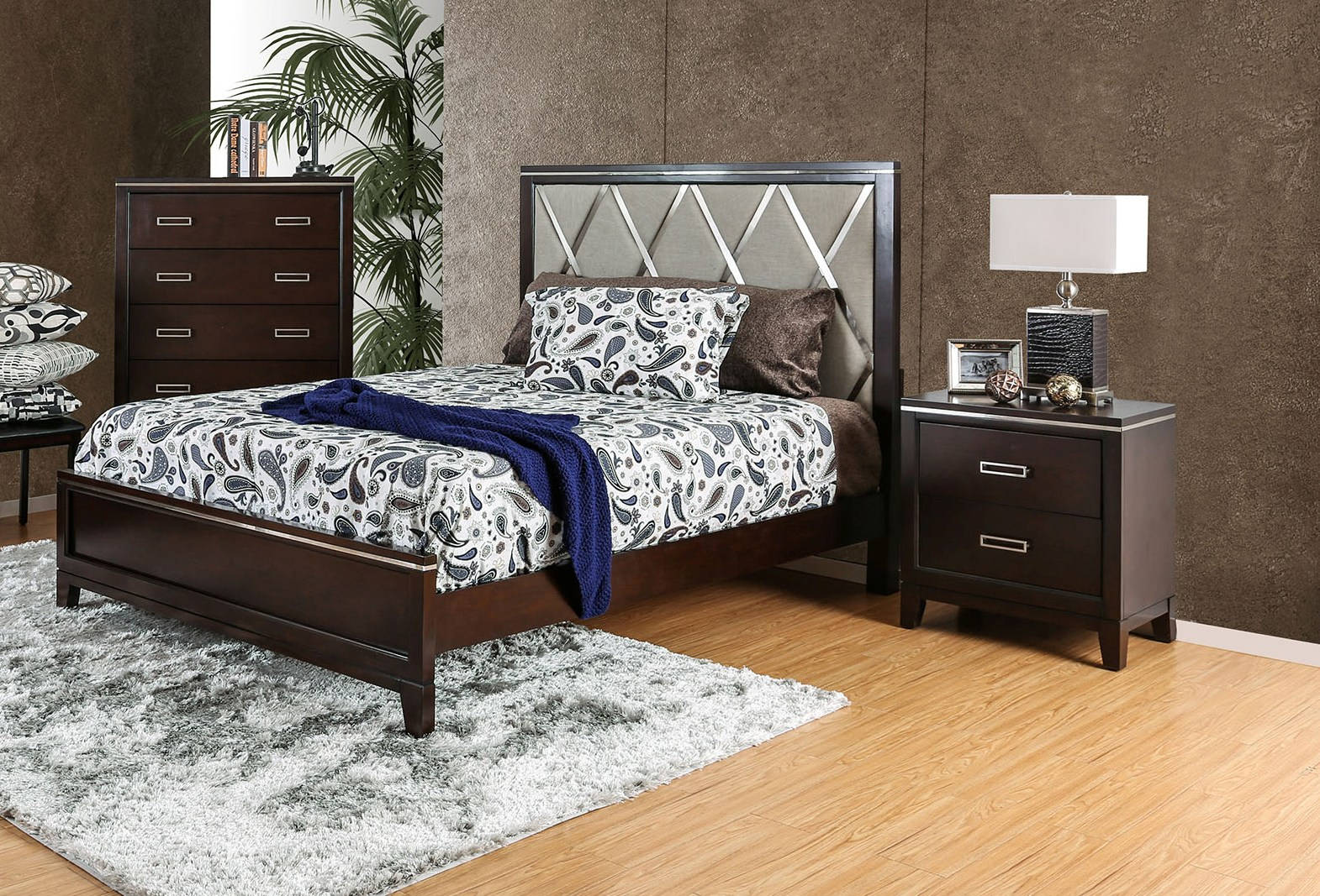 winnifred cherry fabric solid wood 2pc bedroom set w king
