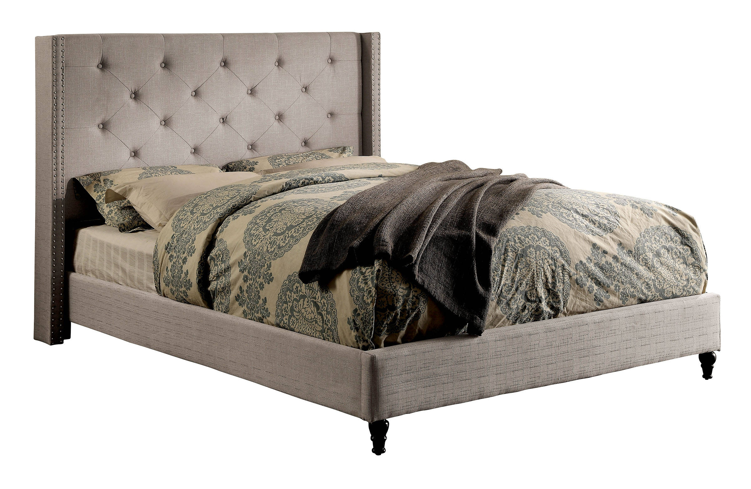 Furniture of america anabelle warm gray king bed the for Furniture of america king bed