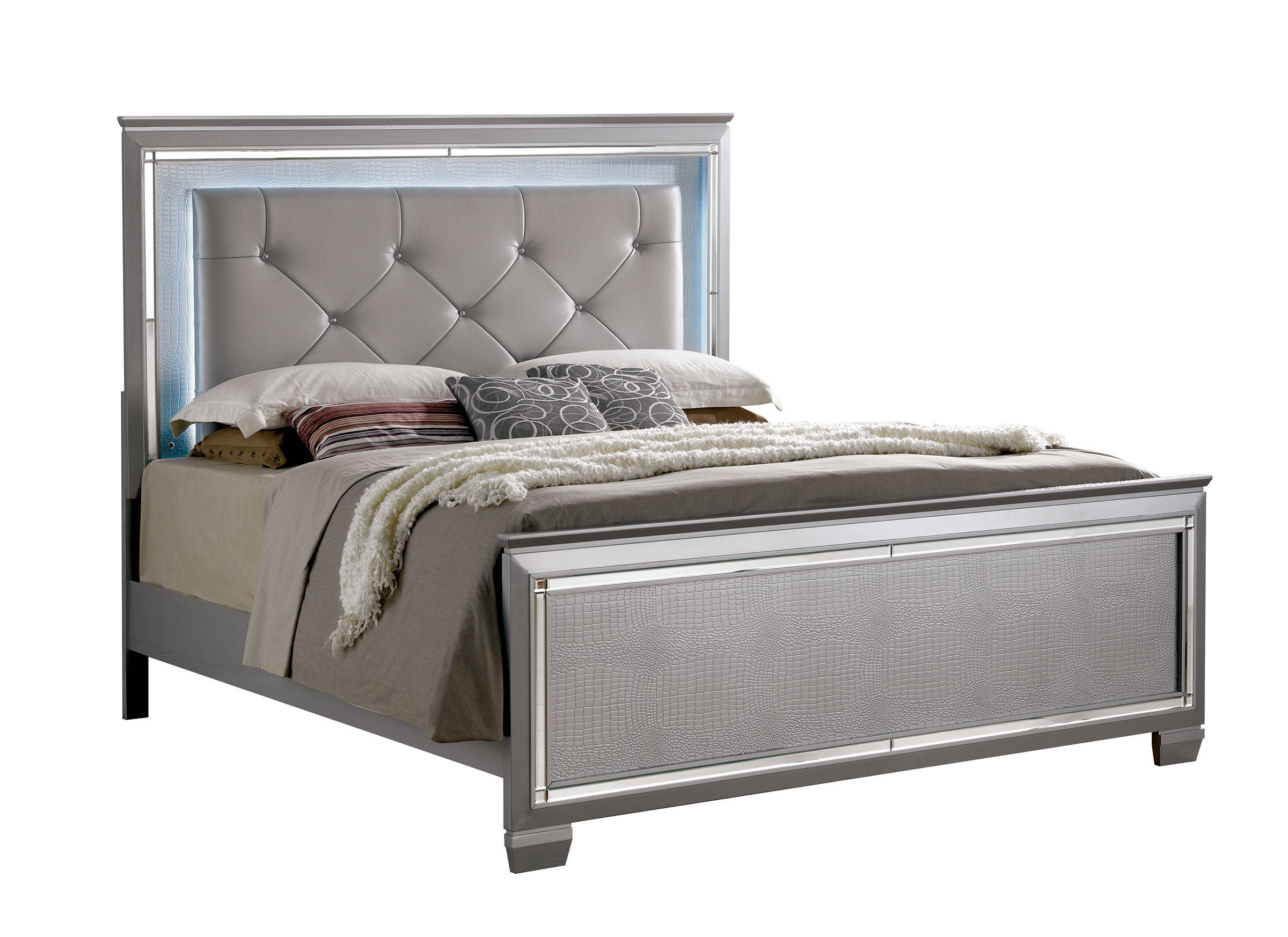 Furniture of america bellanova silver cal king bed the for Furniture of america king bed