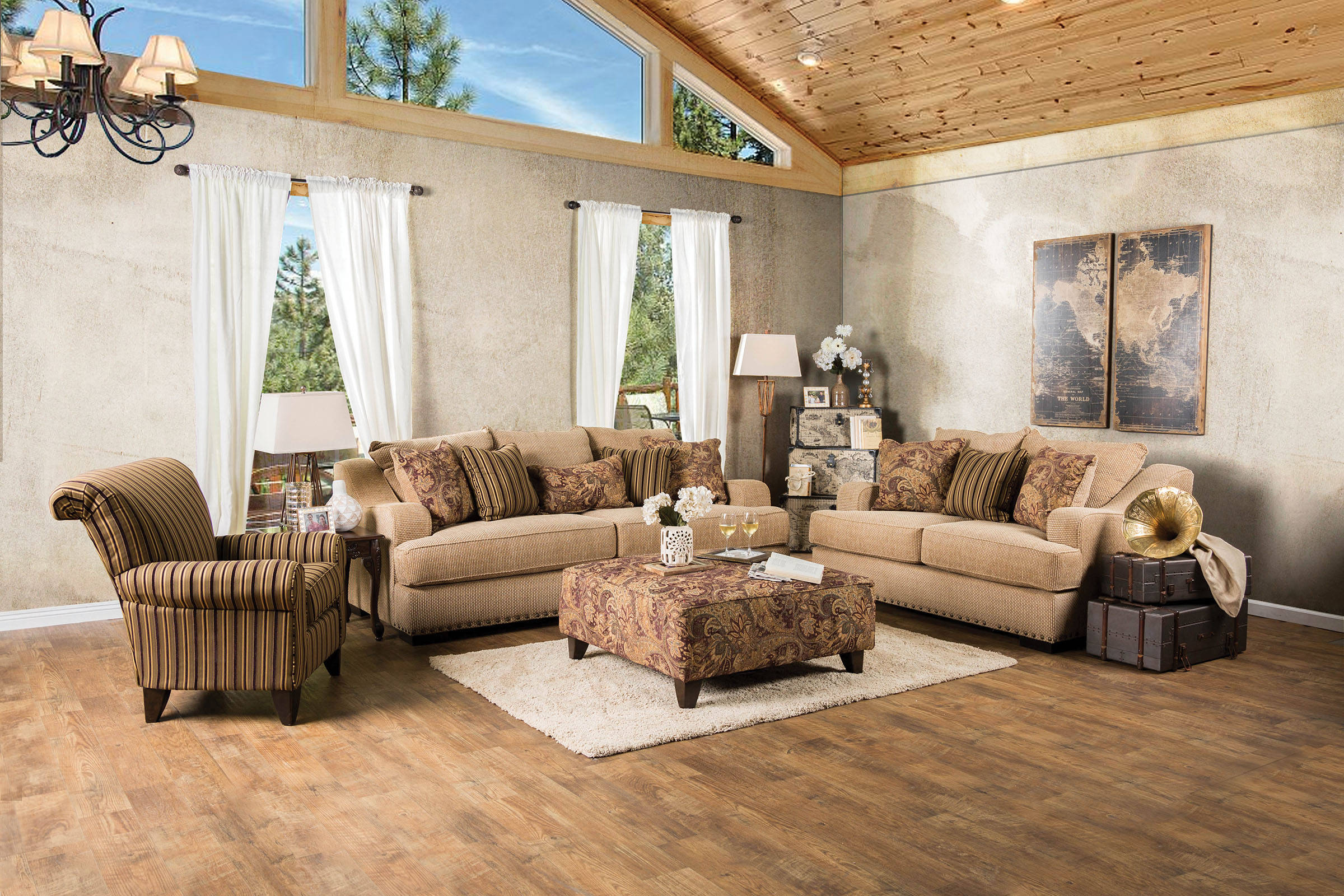 Arklow contemporary tan beige fabric living room set for Best living room set deals