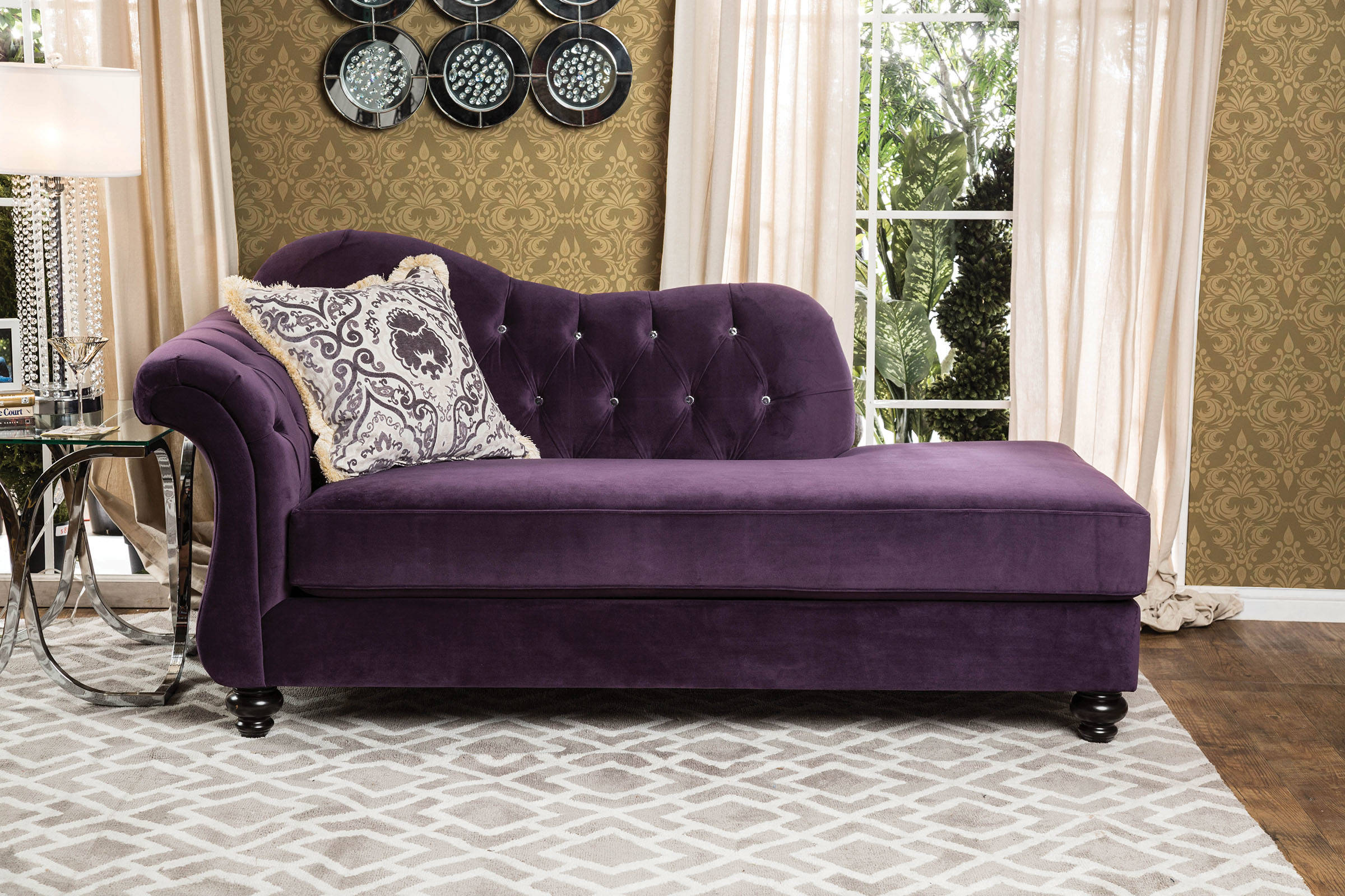 Furniture Of America Antoinette Purple Chaise The Classy Home