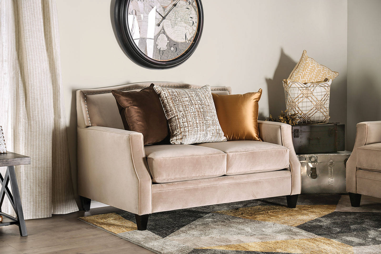 Superb Furniture Of America Camilla Tan Love Seat Bralicious Painted Fabric Chair Ideas Braliciousco