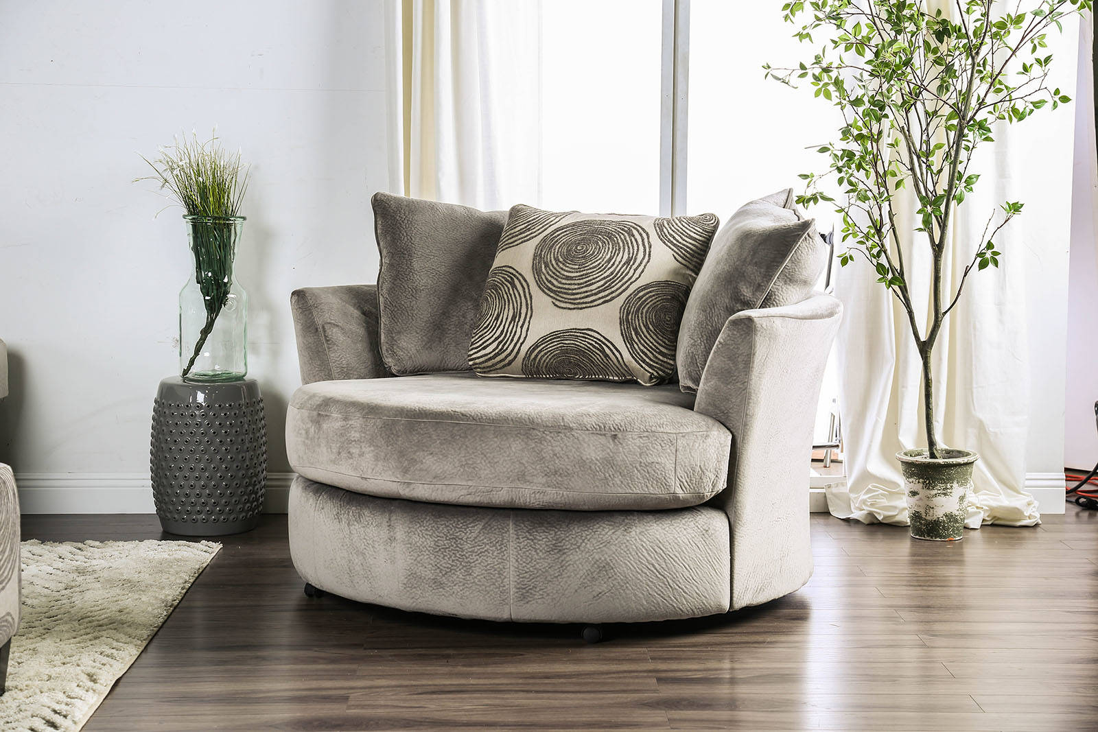 Awe Inspiring Furniture Of America Bonaventura Gray Swivel Chair Pdpeps Interior Chair Design Pdpepsorg