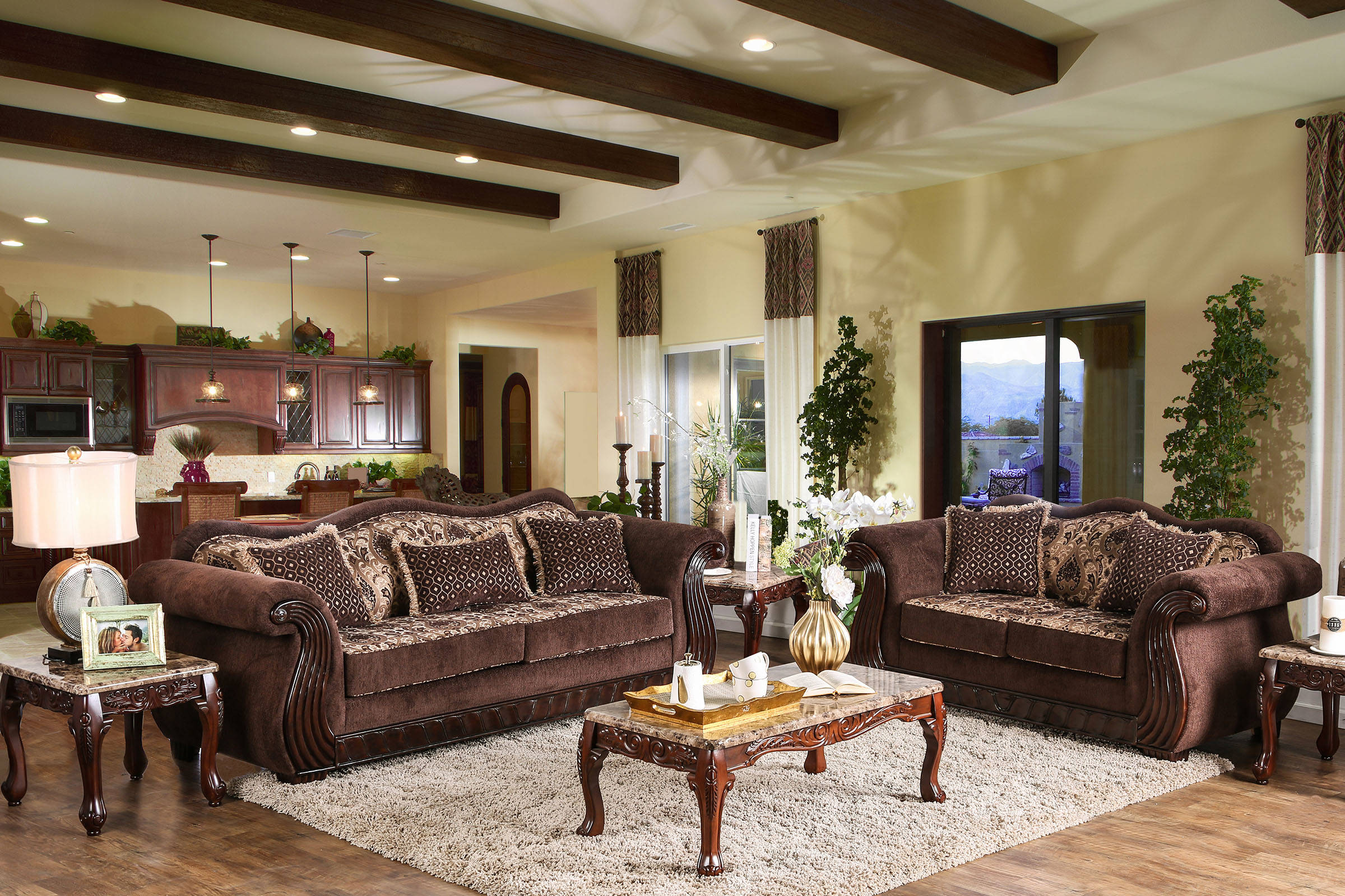 Kensett traditional brown fabric wood living room set for Best living room set deals