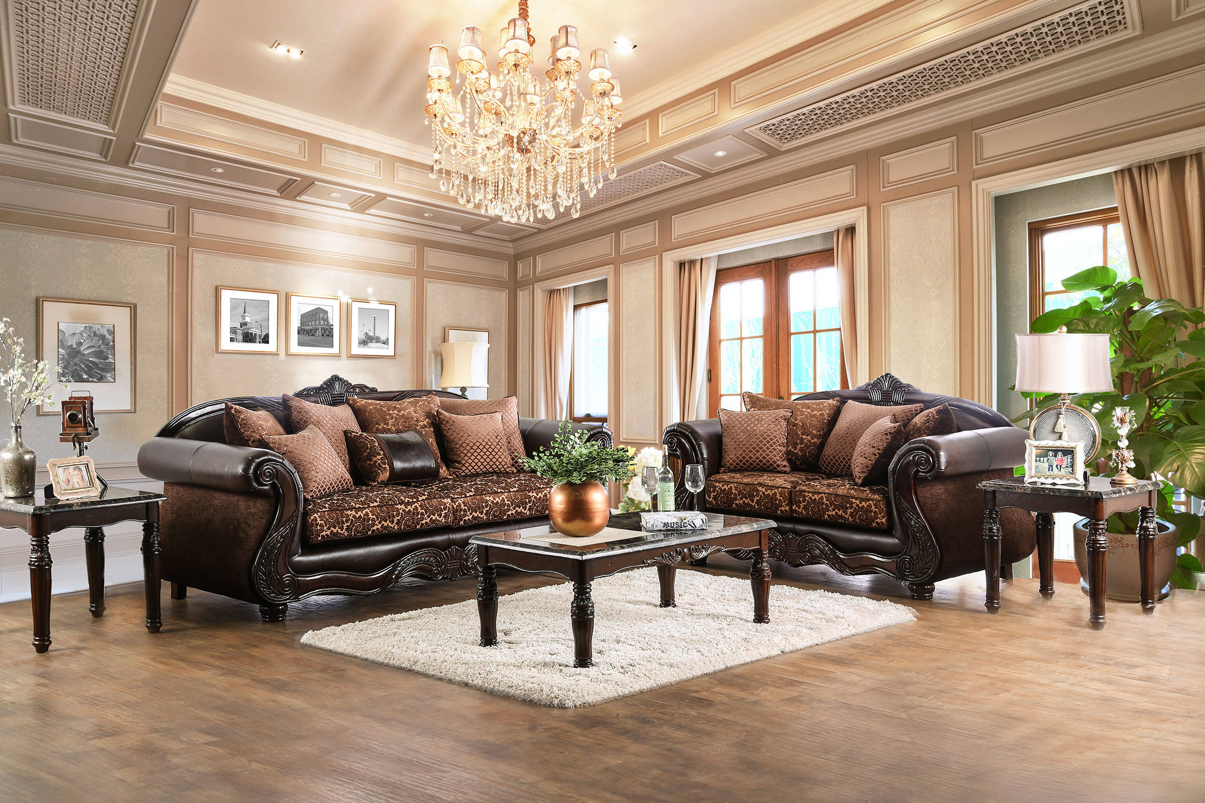 Elpis traditional brown fabric living room set living for Best living room set deals