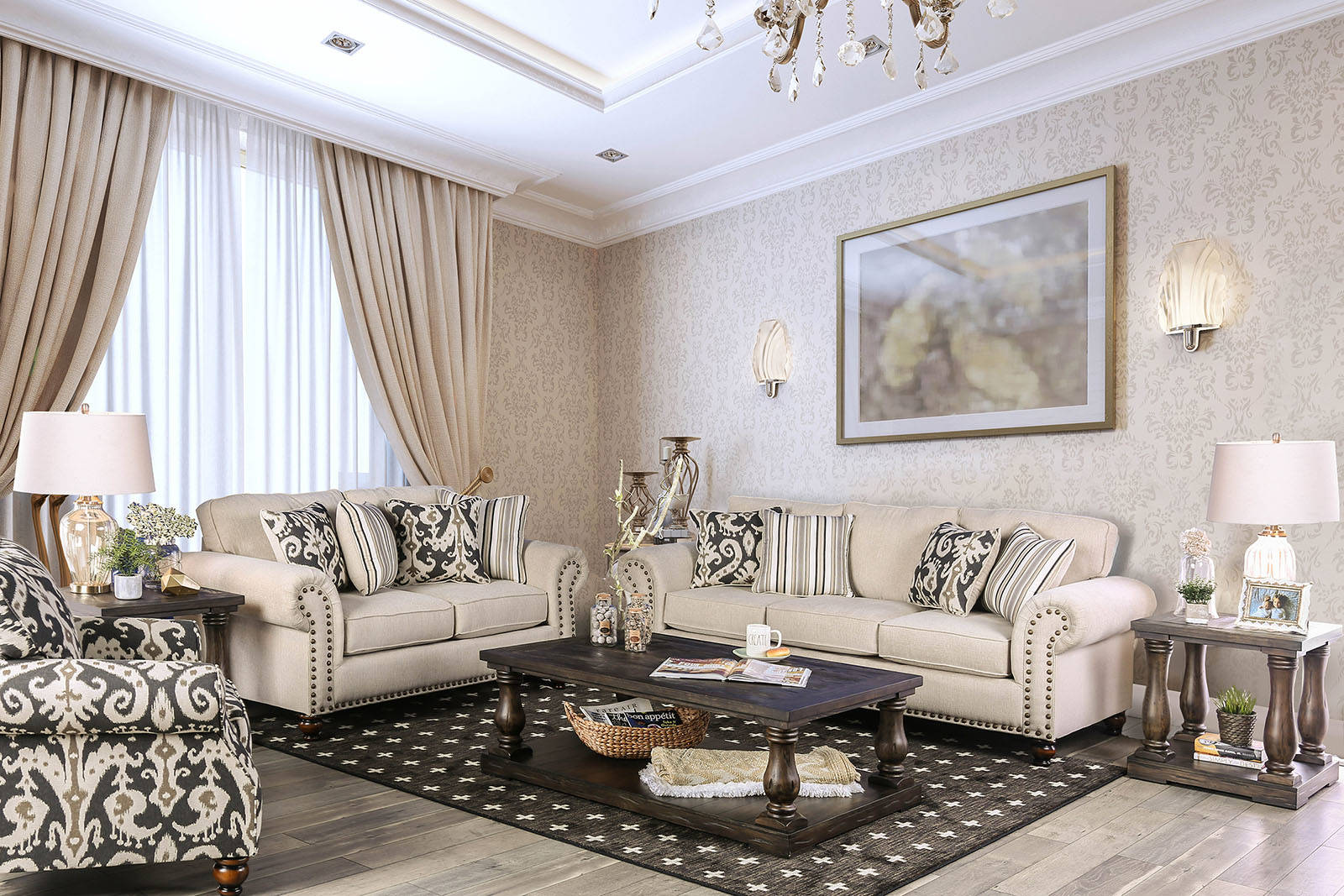 Outstanding Furniture Of America Calloway Ivory Loveseat Gmtry Best Dining Table And Chair Ideas Images Gmtryco