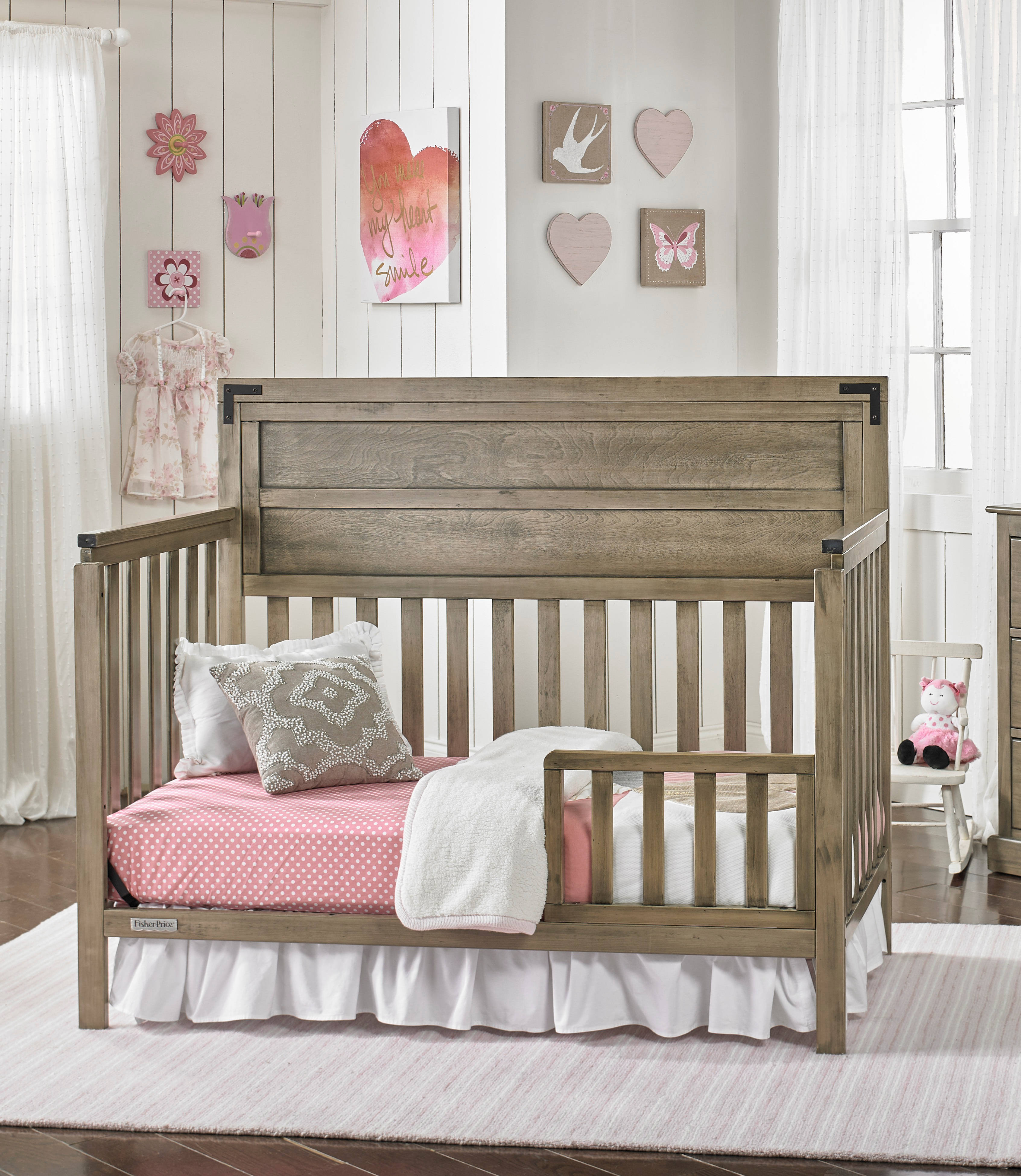Fisher Price Paxton Vintage Grey Convertible Crib with Guard Rail ...