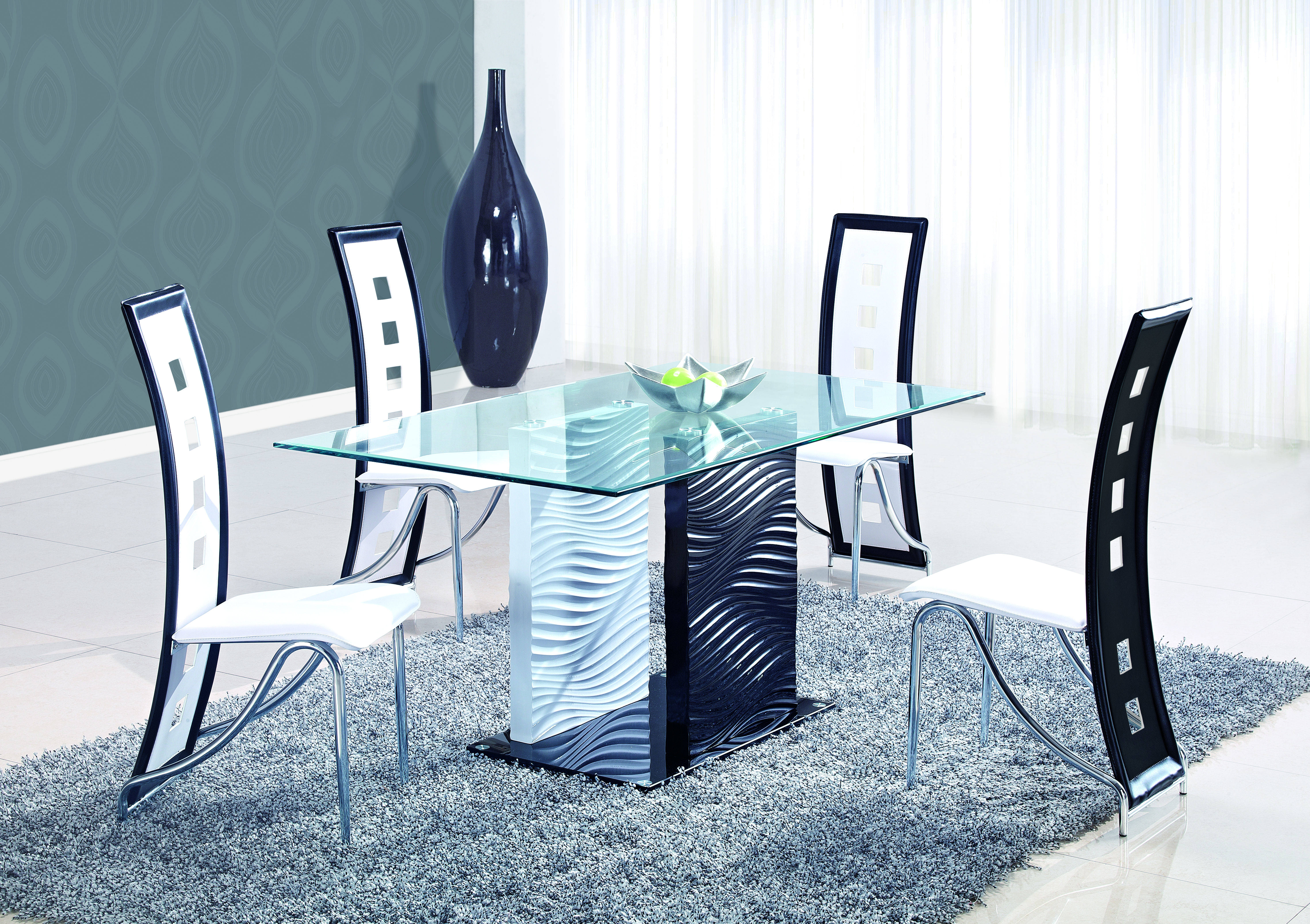 Black White Tempered Gl Mdf Dining Table The Cly Home