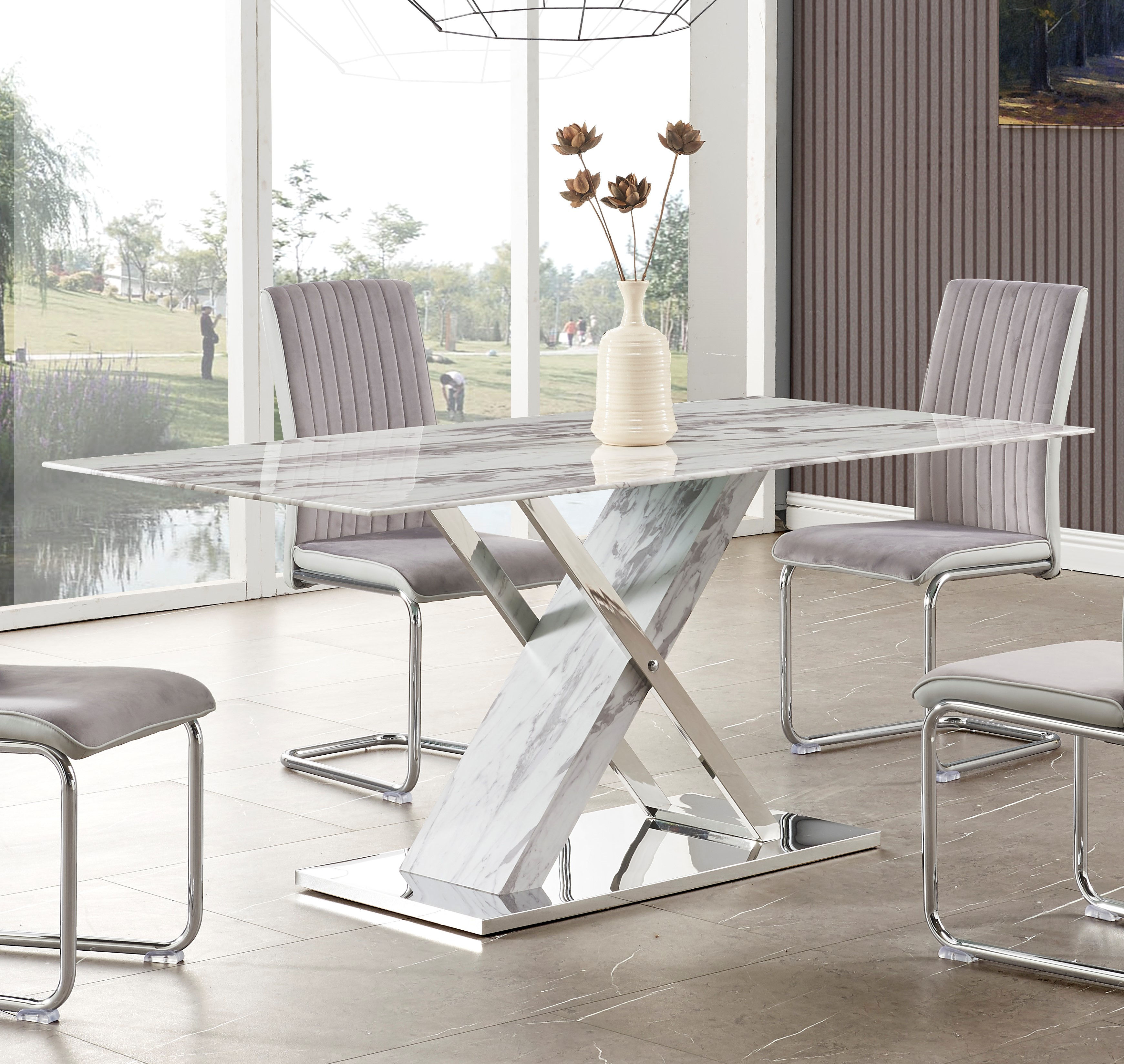 Global Furniture White Grey Faux Marble