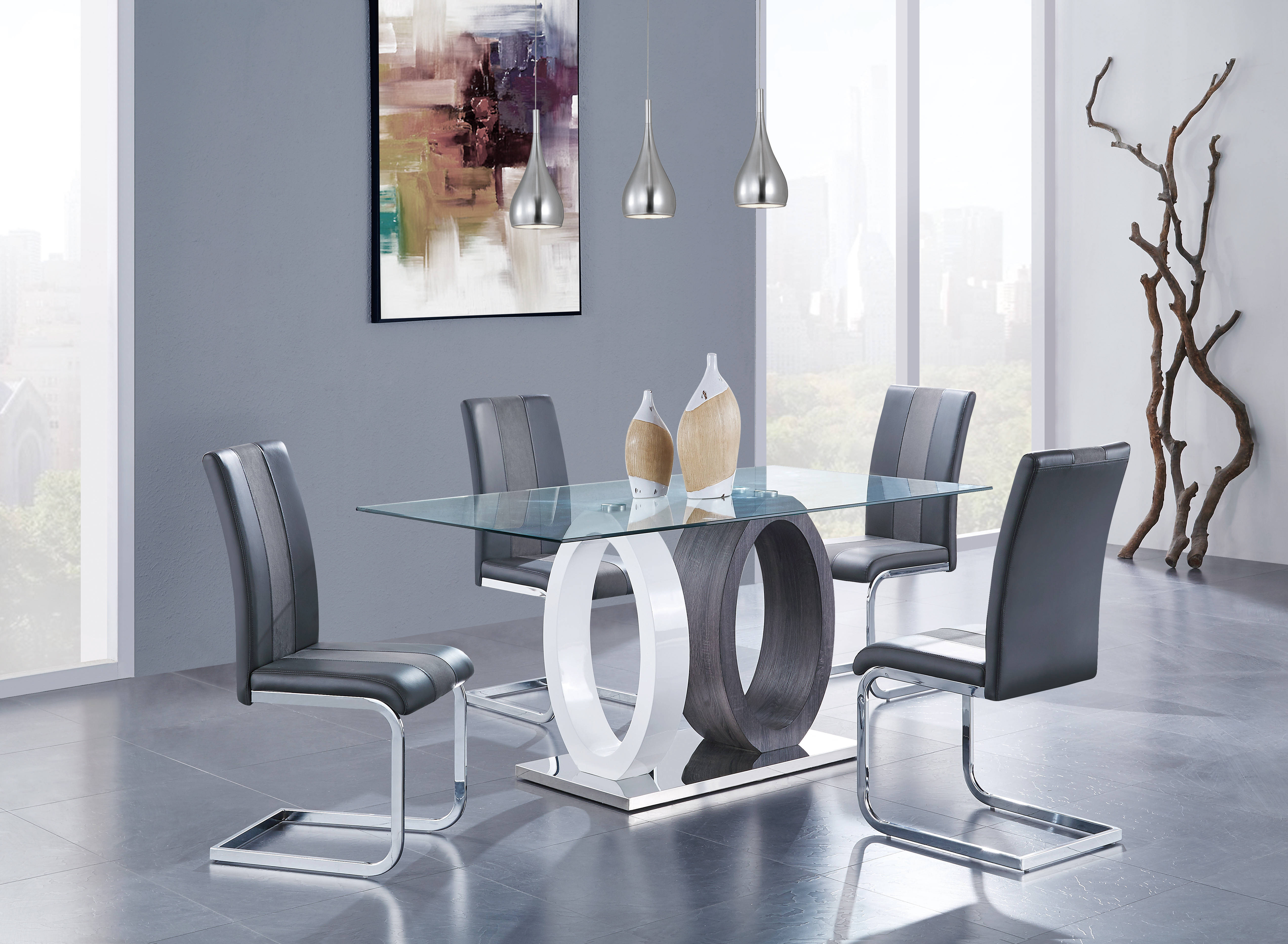 Global Furniture D1628 White Grey 5pc Dining Room Set