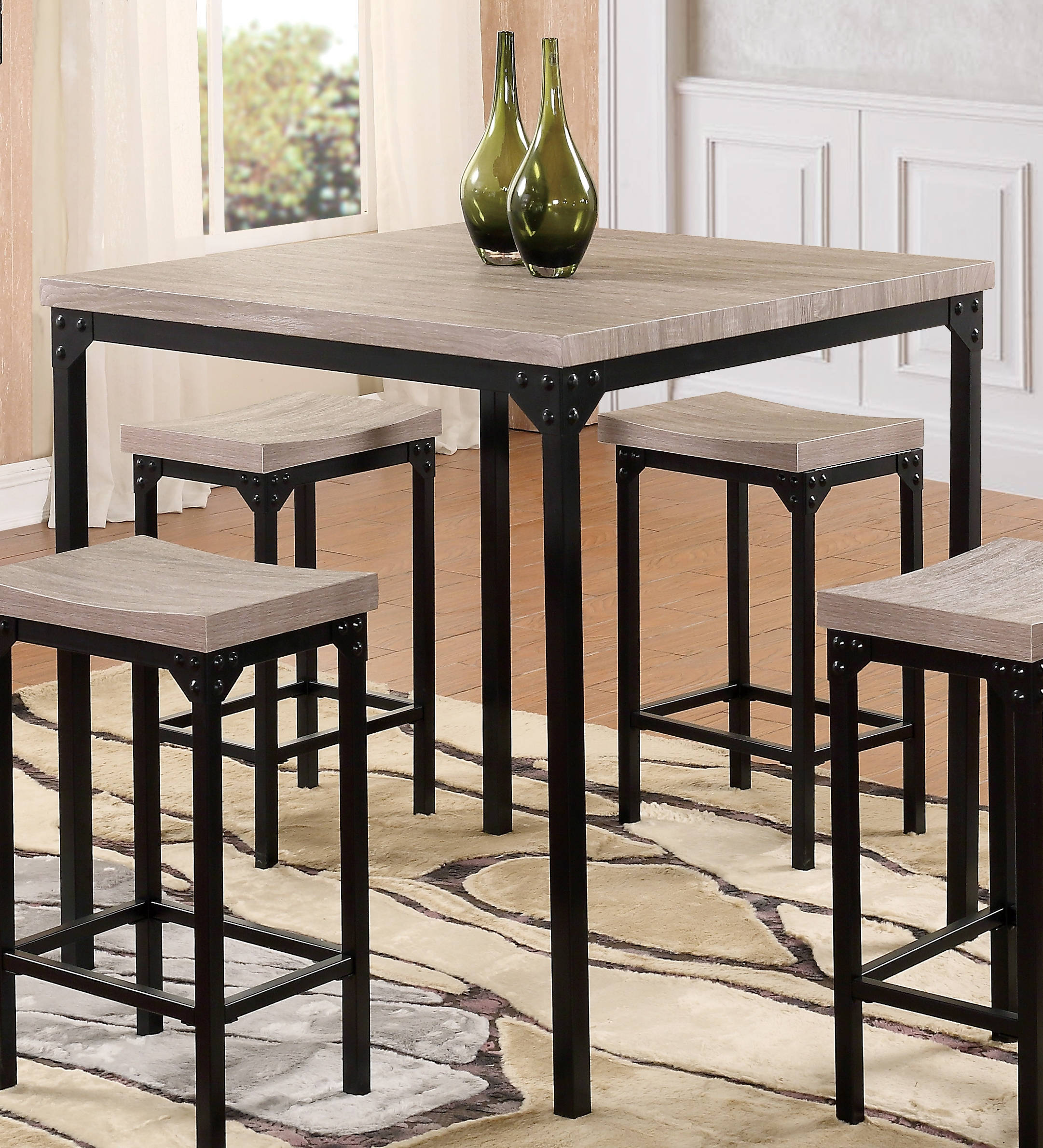 D188 Series Black Mdf Iron Bar Table The Cly Home