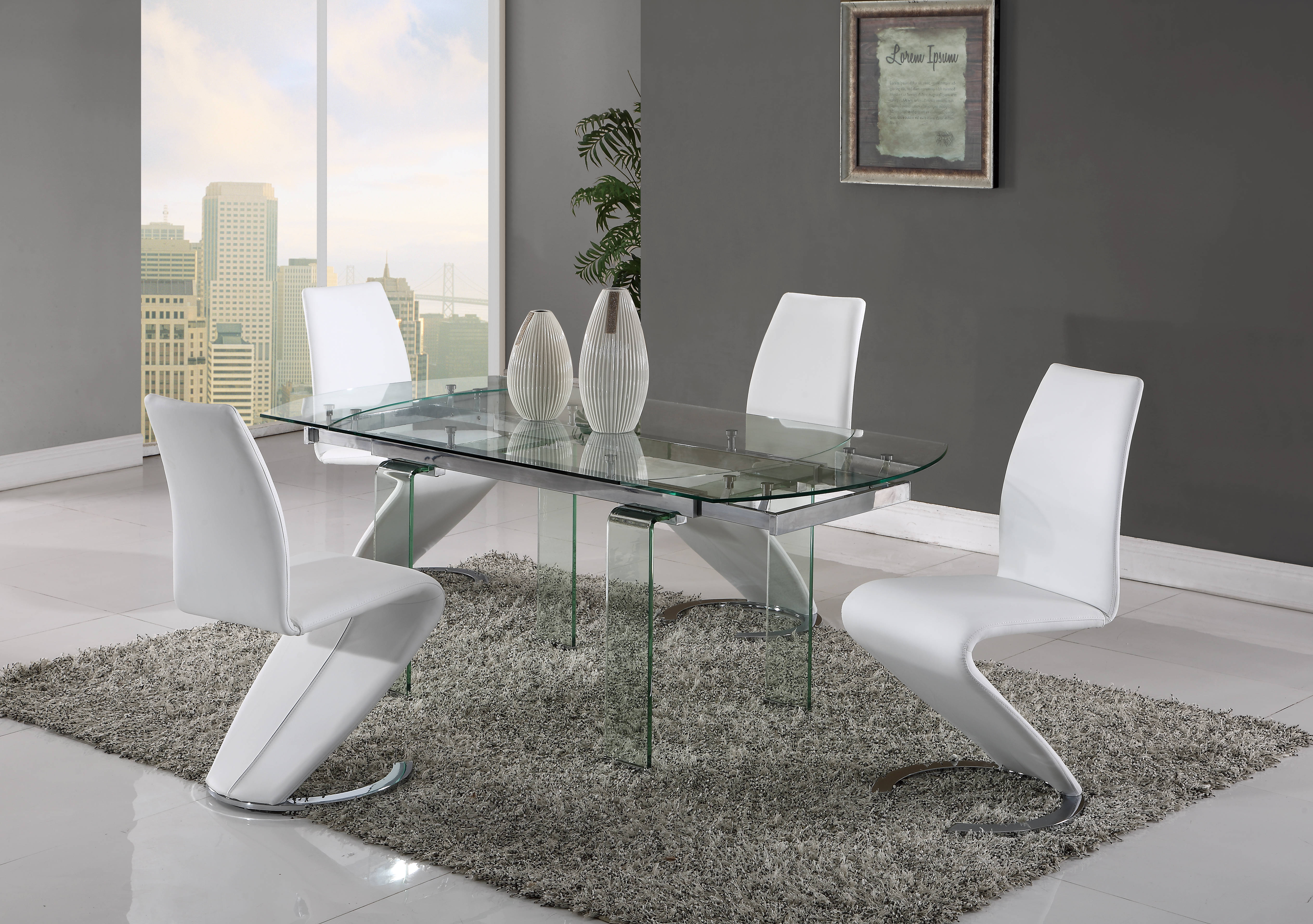 Global Furniture D2160 D9002 Clear White 5pc Dining Room Set