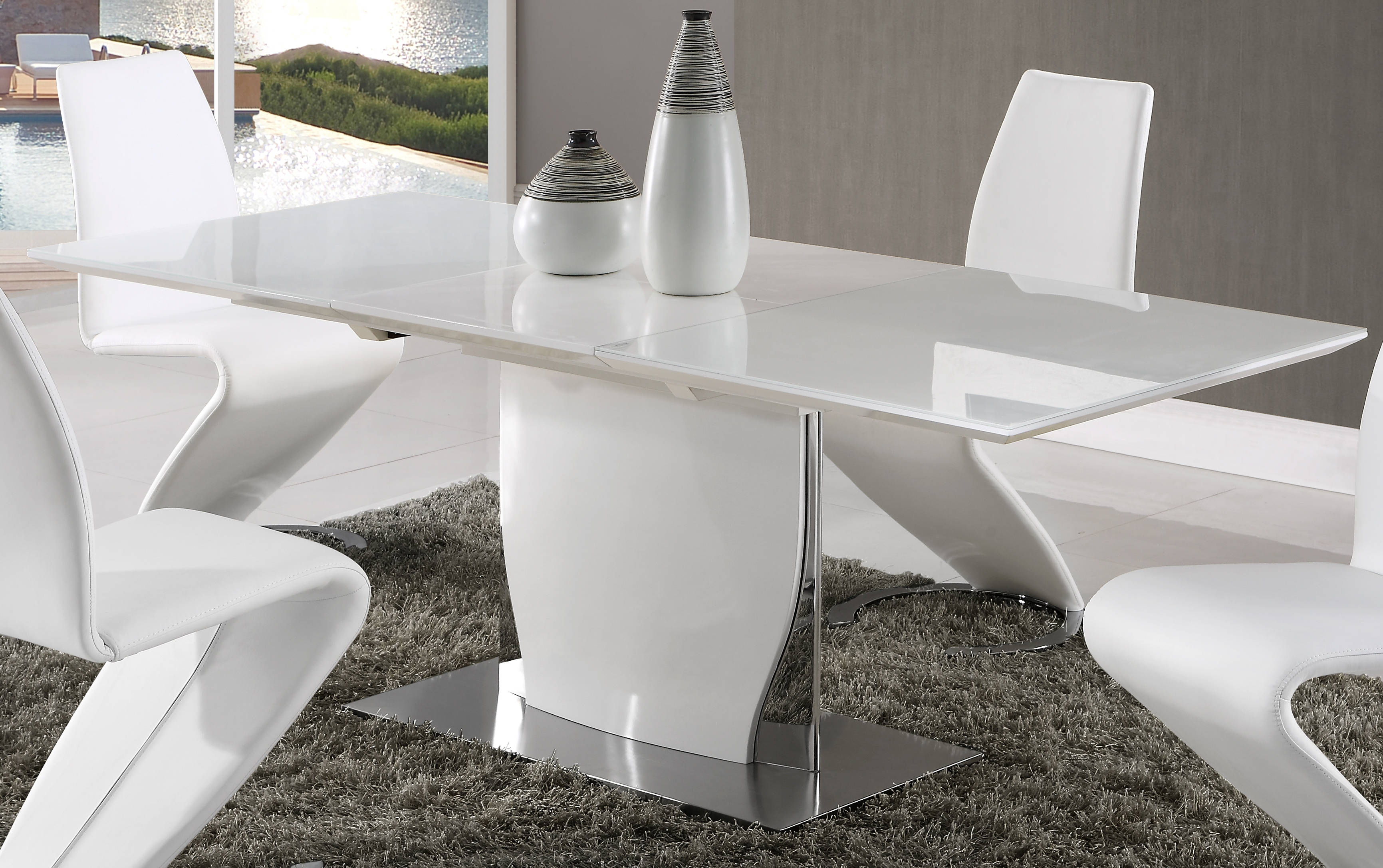 Global Furniture D2279 White High Gloss Dining Table Click To Enlarge