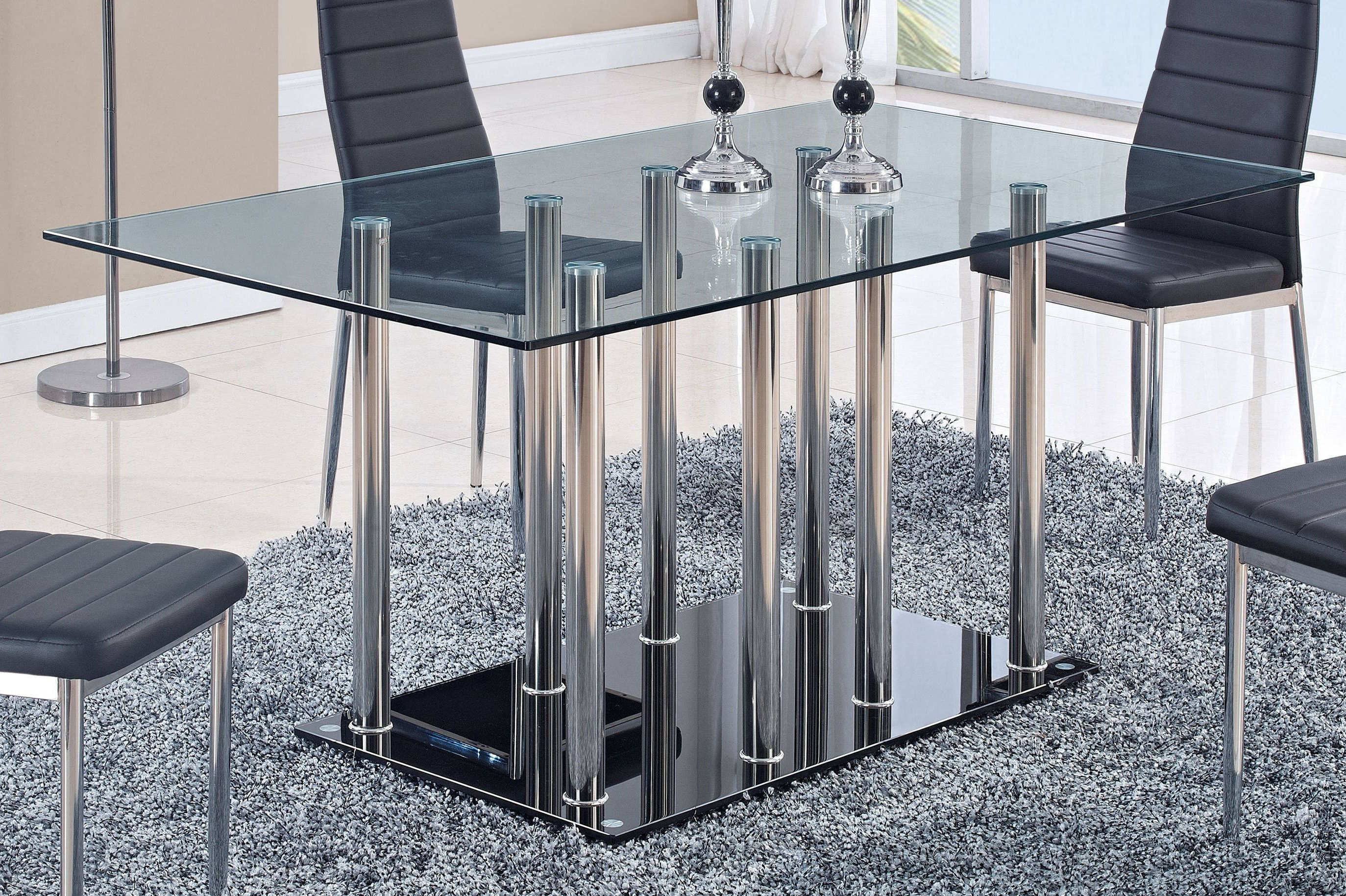Tables Global Furniture D368 Clear Black Dining Table New
