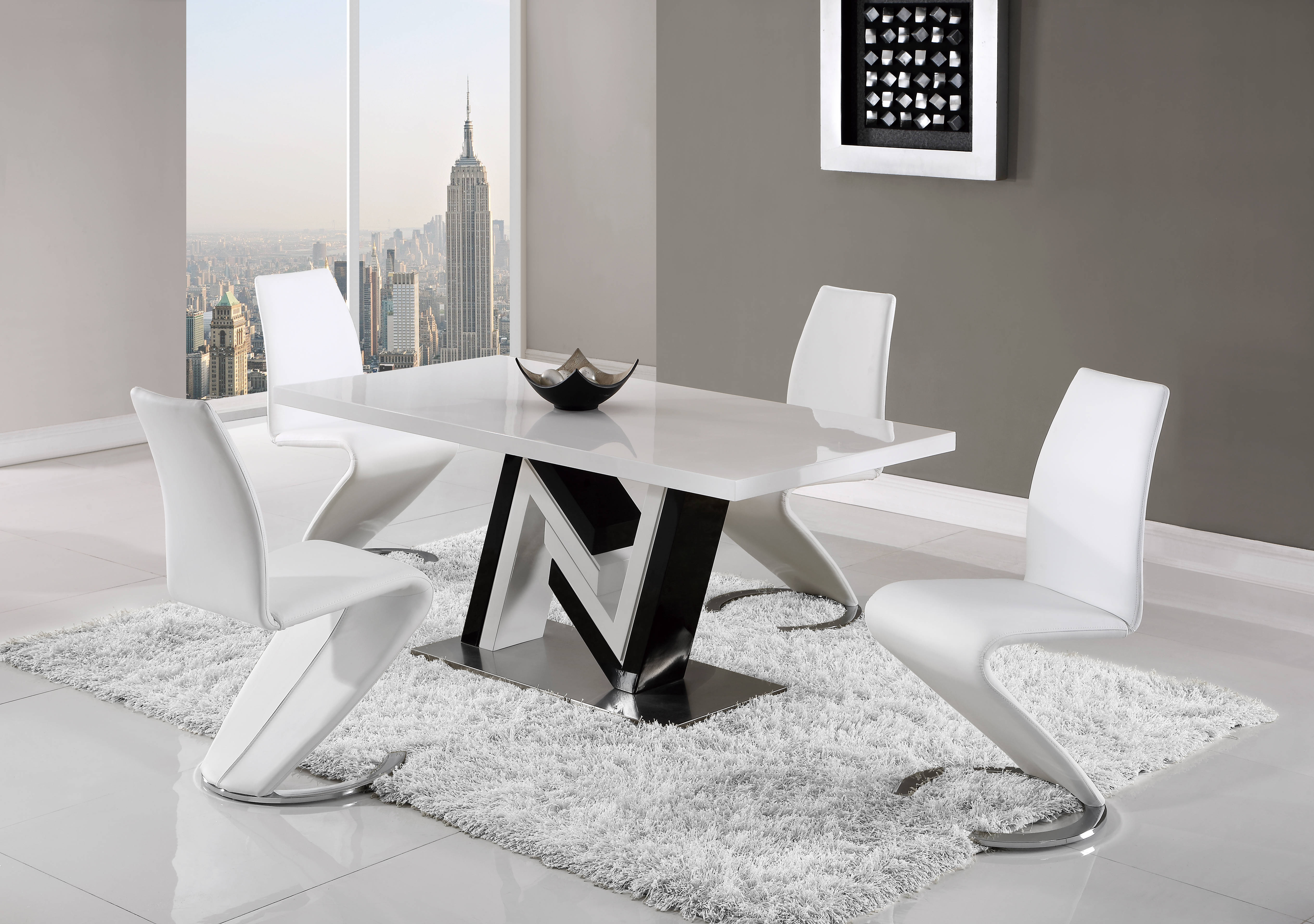 Global Furniture D4163-D9002 White 5pc Dining Room Set