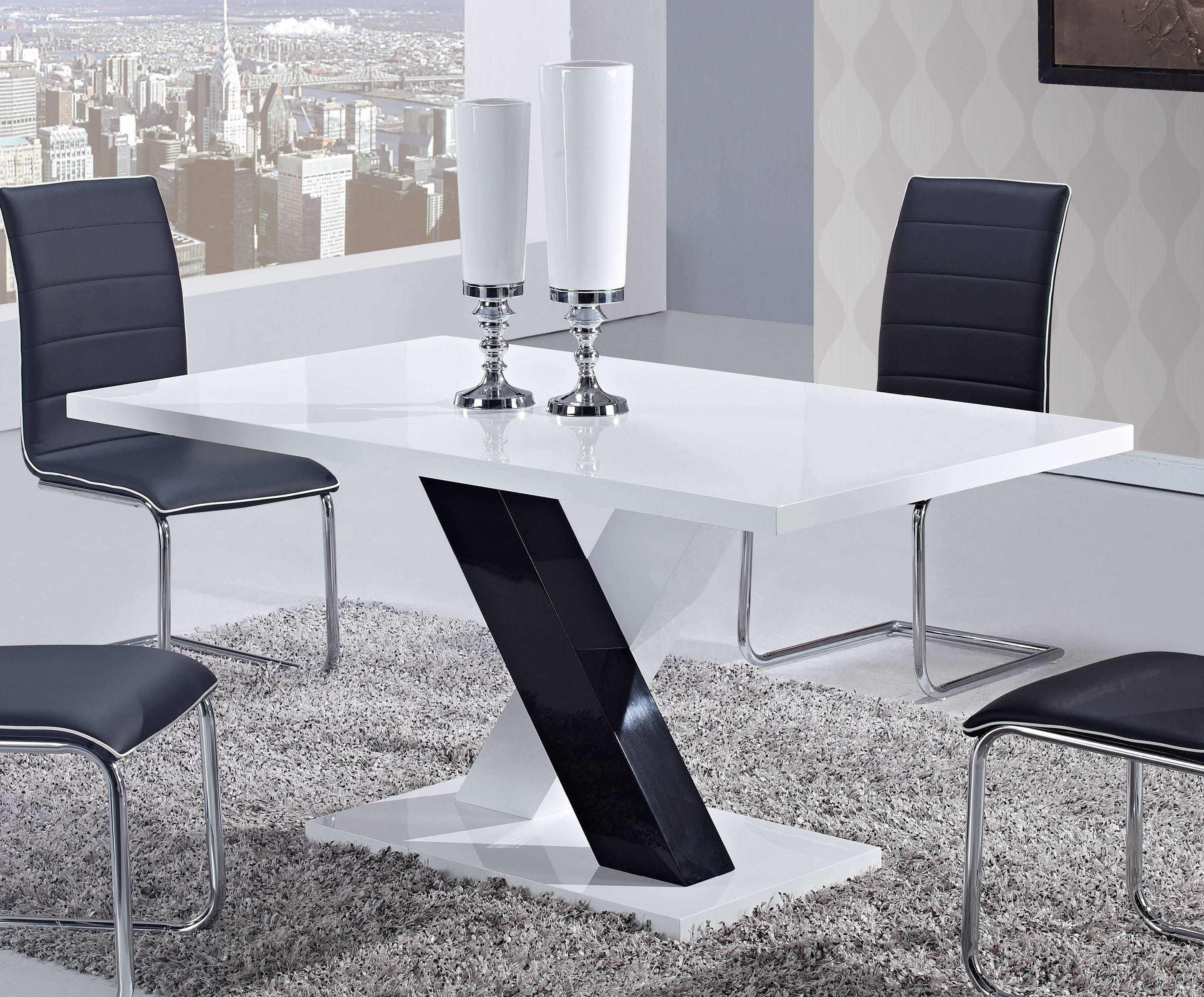 White Black Wood Rectangle Dining Table