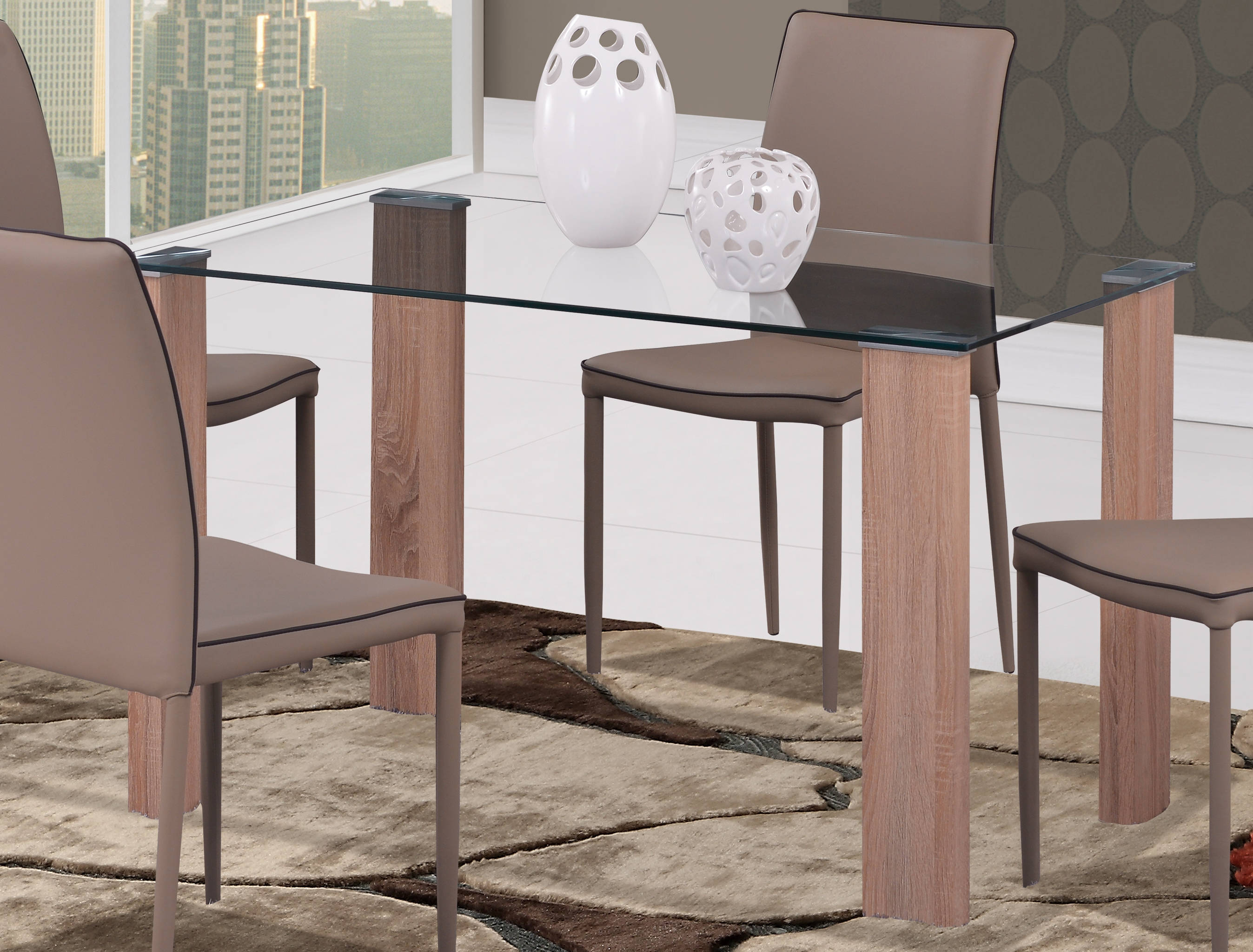 D634 Series Oak Gl Wood Dining Table