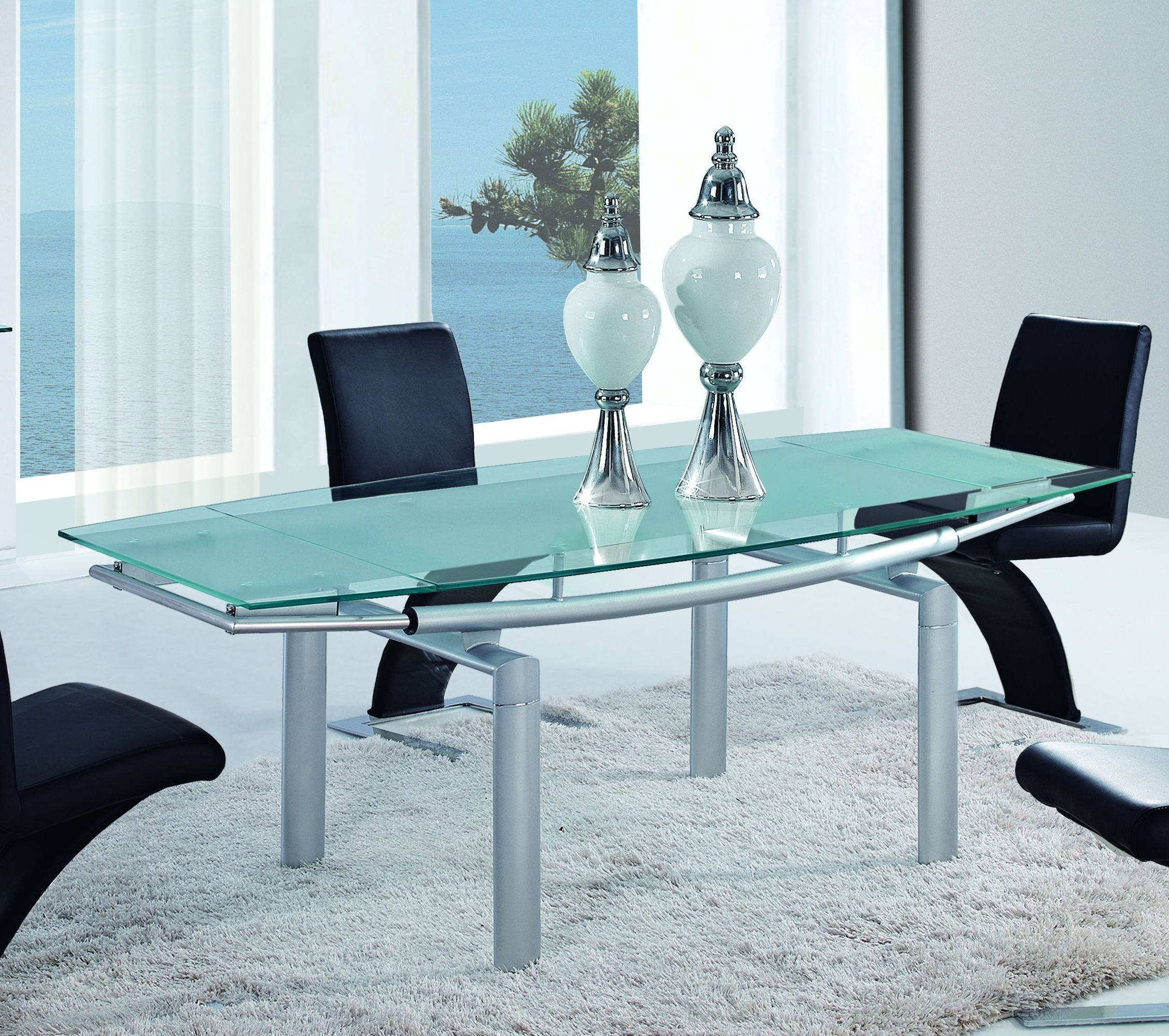 D88 Series Contemporary Silver Gl Metal Extensions Dining Table
