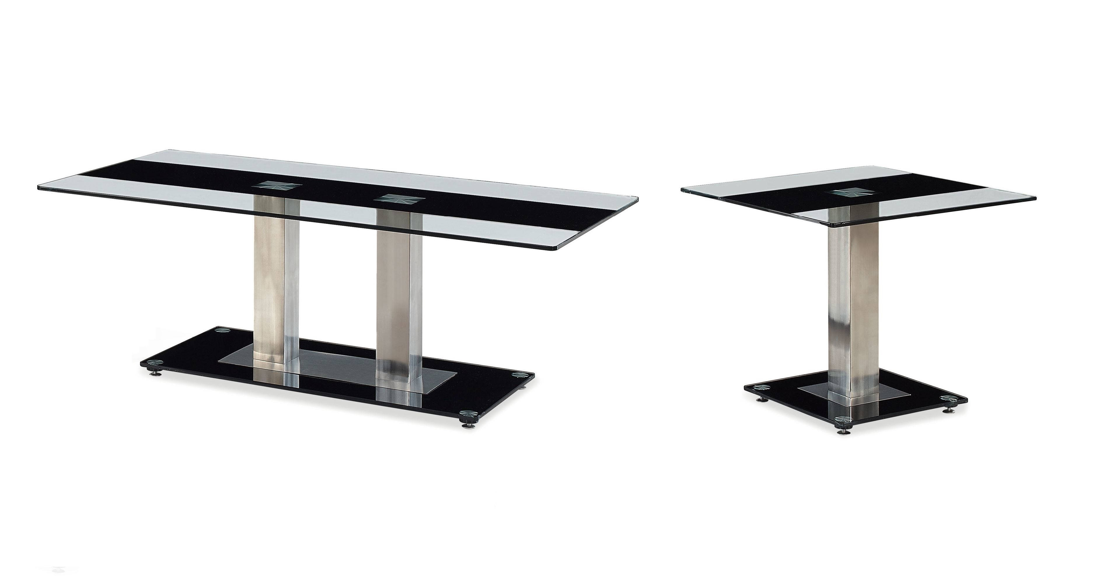 T2108 Series Black Silver Glass Stainless Steel Coffee Table Set Occasional Tables The