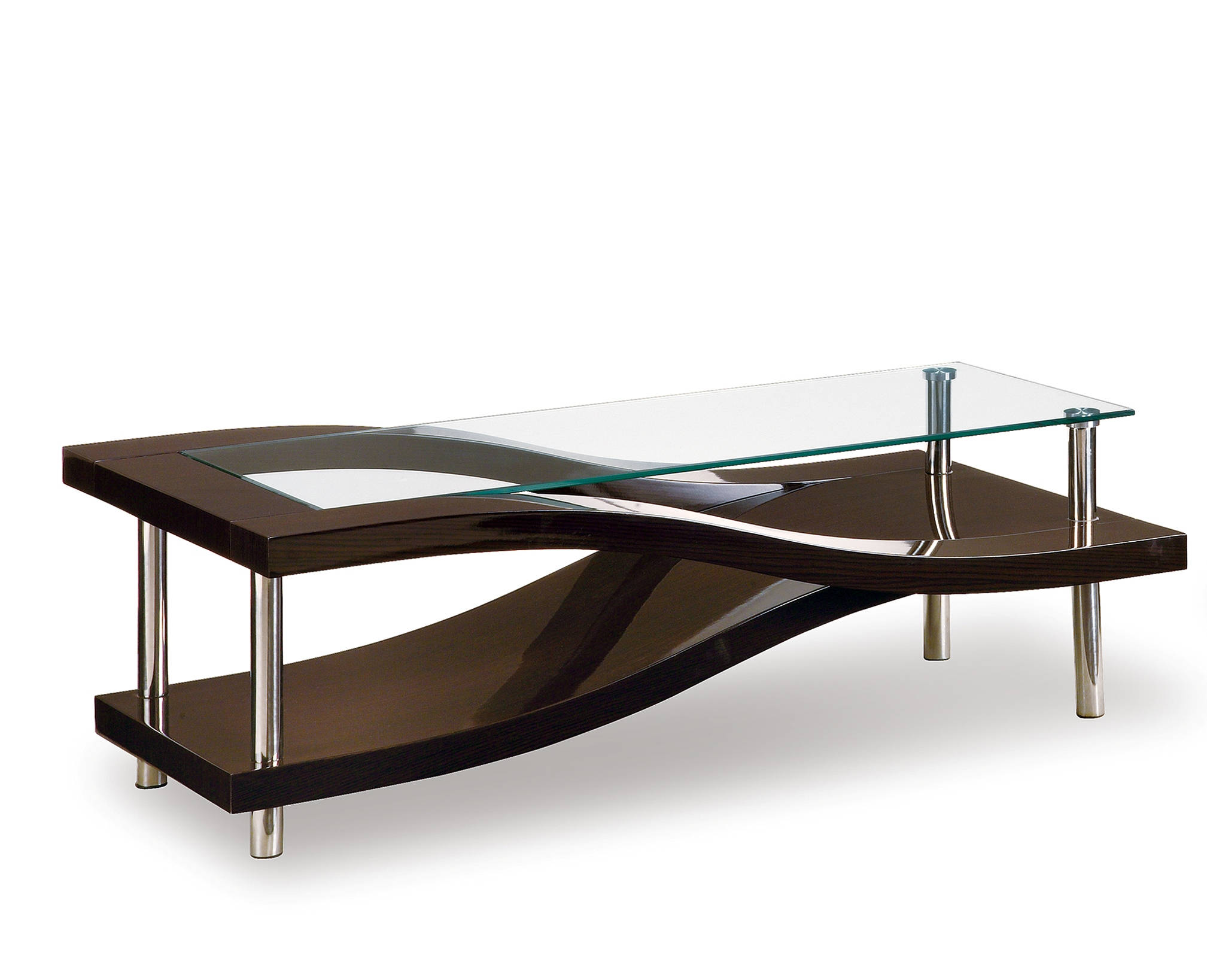 T759 Series Modern Wenge Glass MDF Wood Metal Coffee Table