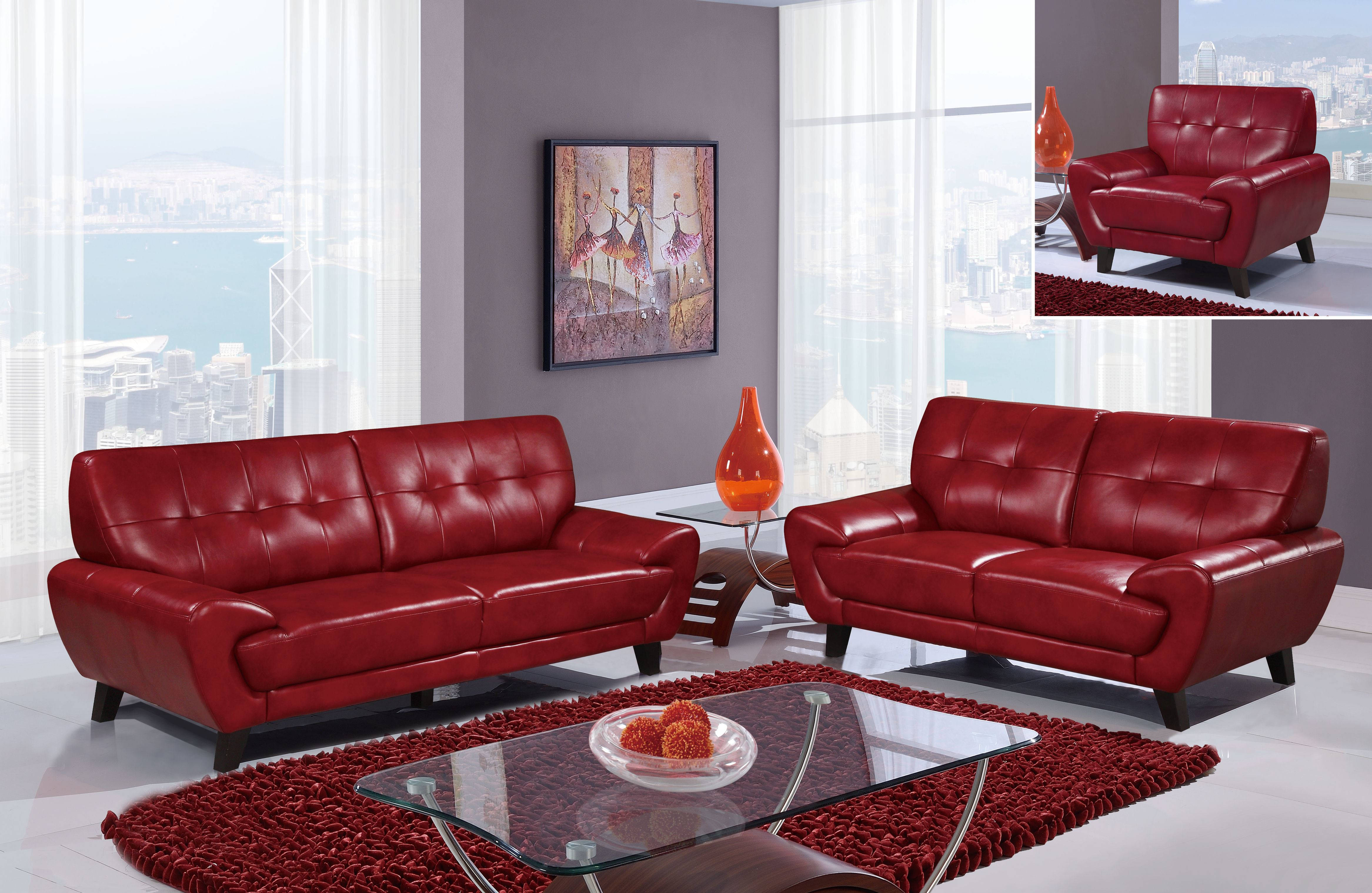 U7400 series blanche red leather gel living room set the - Red leather living room furniture set ...