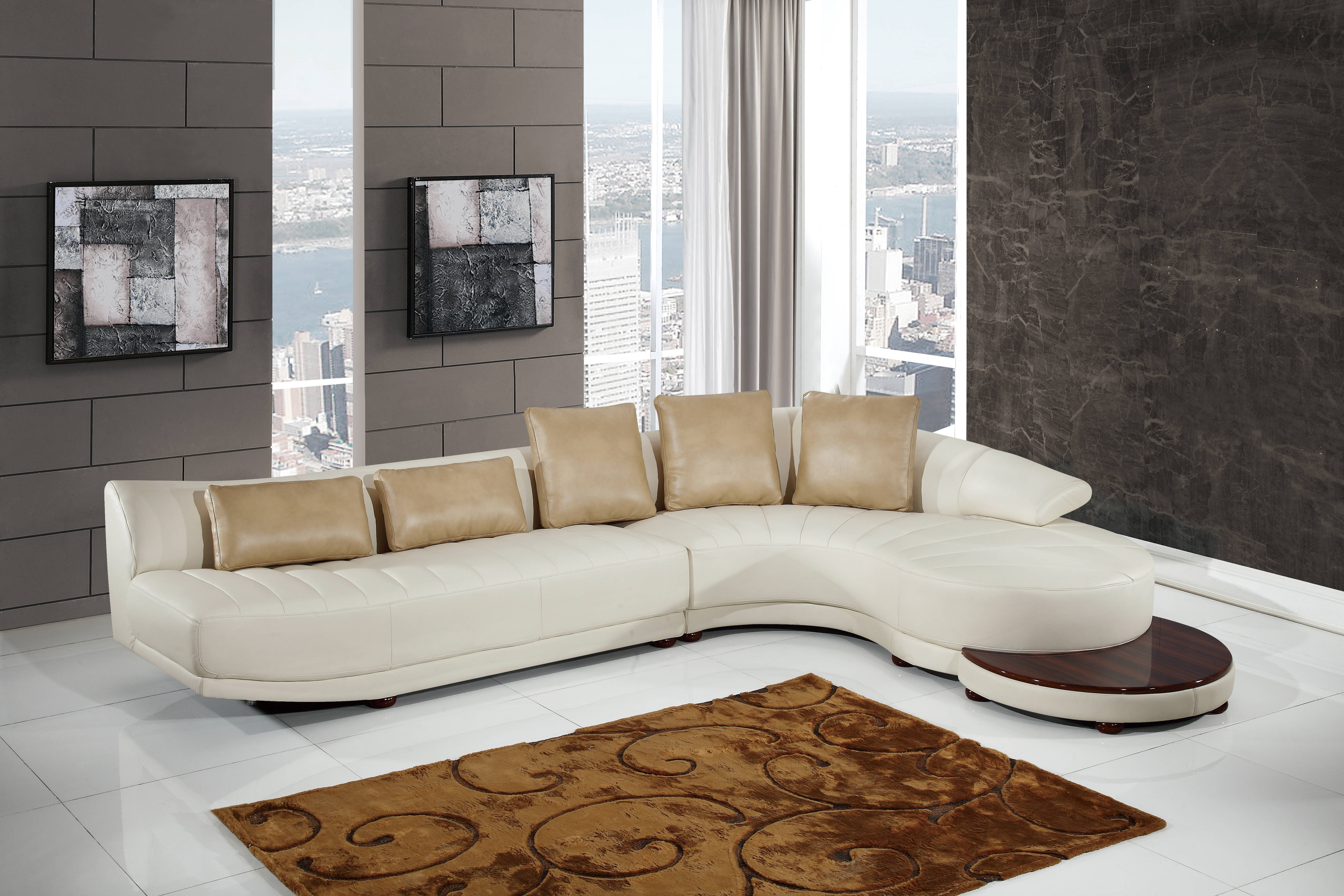 Global Furniture Ufm208 Sectional With End Table The