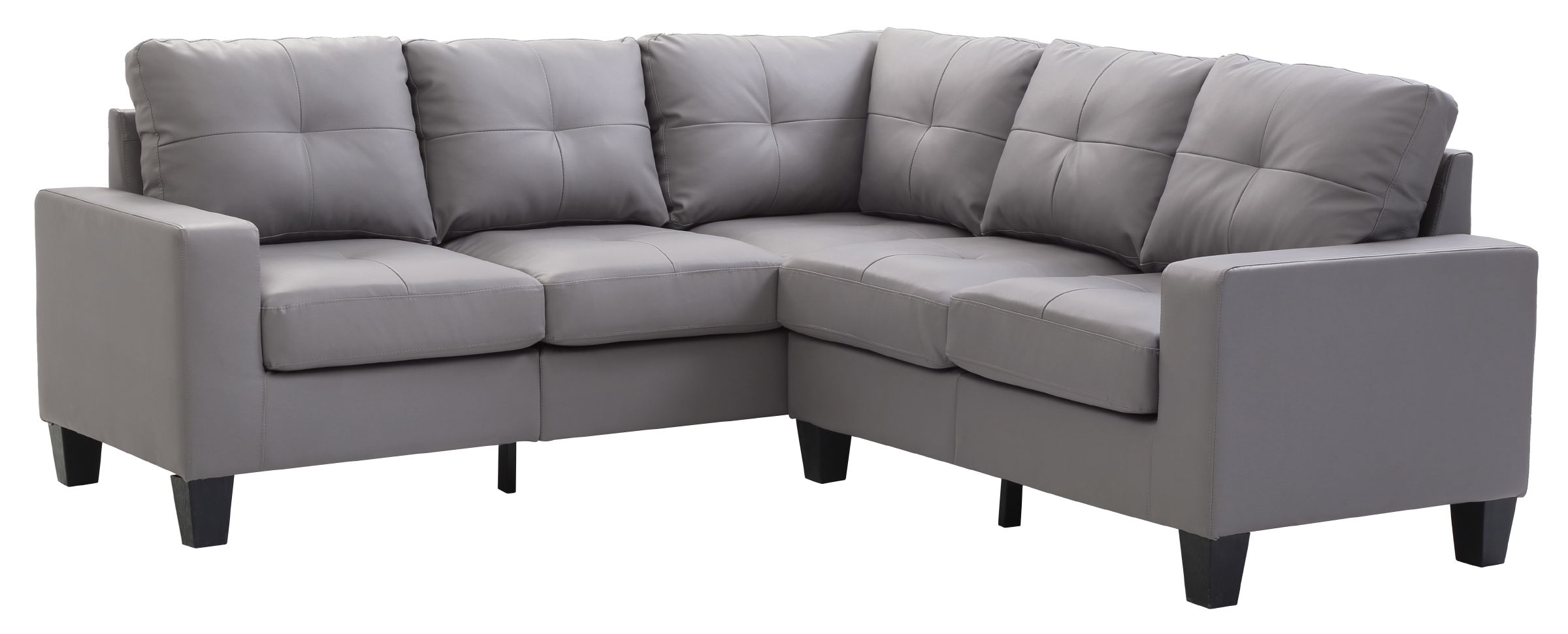Glory Furniture Newbury Casual Gray Faux Leather Sectional With Ottoman