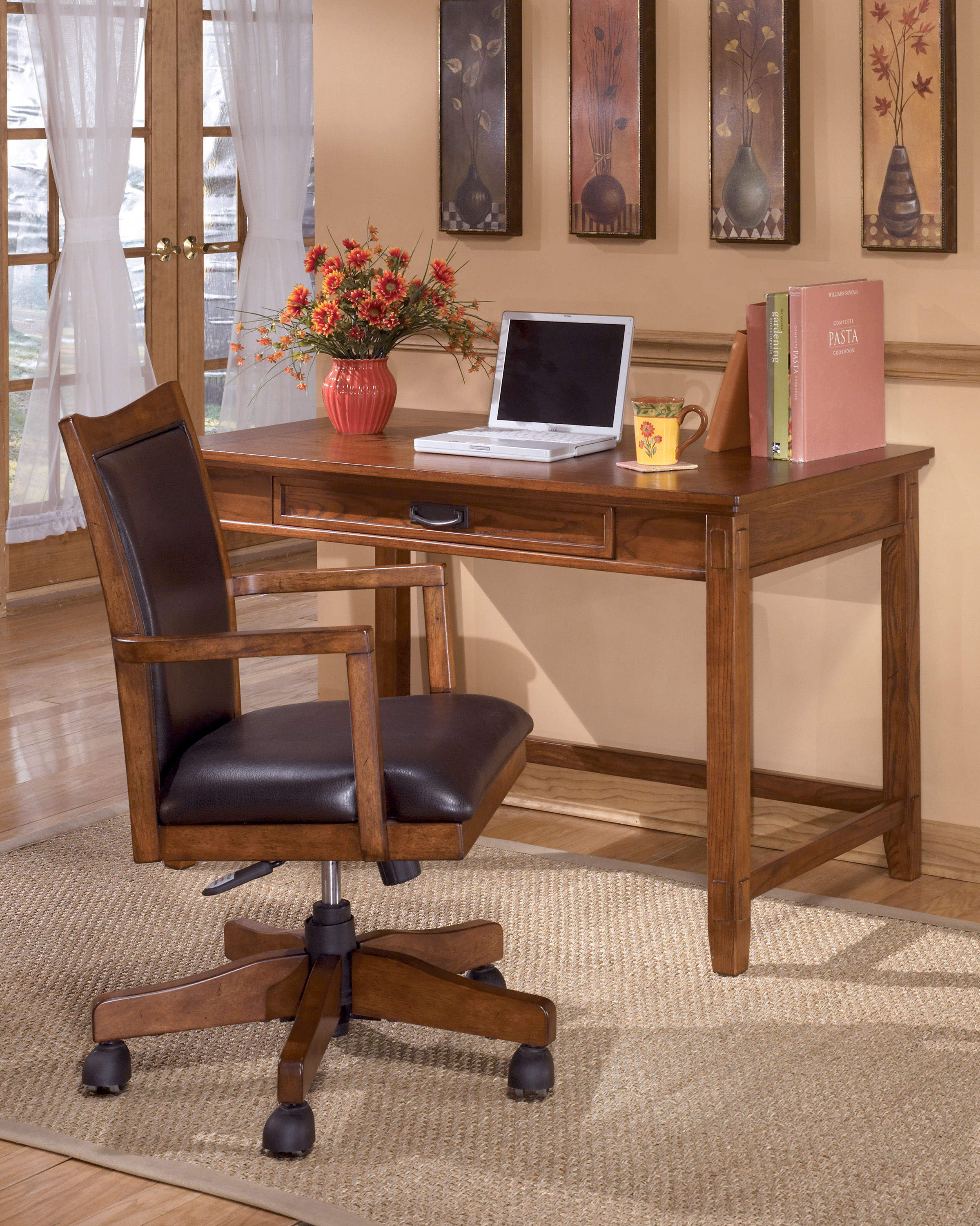 Ashley Furniture Cross Island Brown Oak Small Home Office Desk The