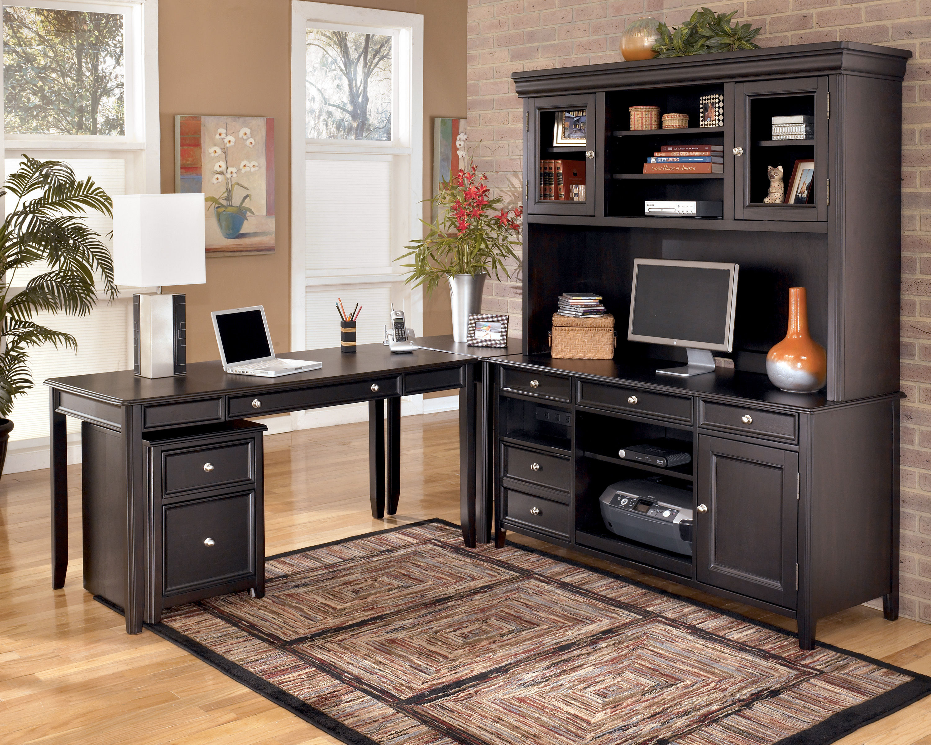 Carlyle Contemporary Black Wood Office Furniture Set The