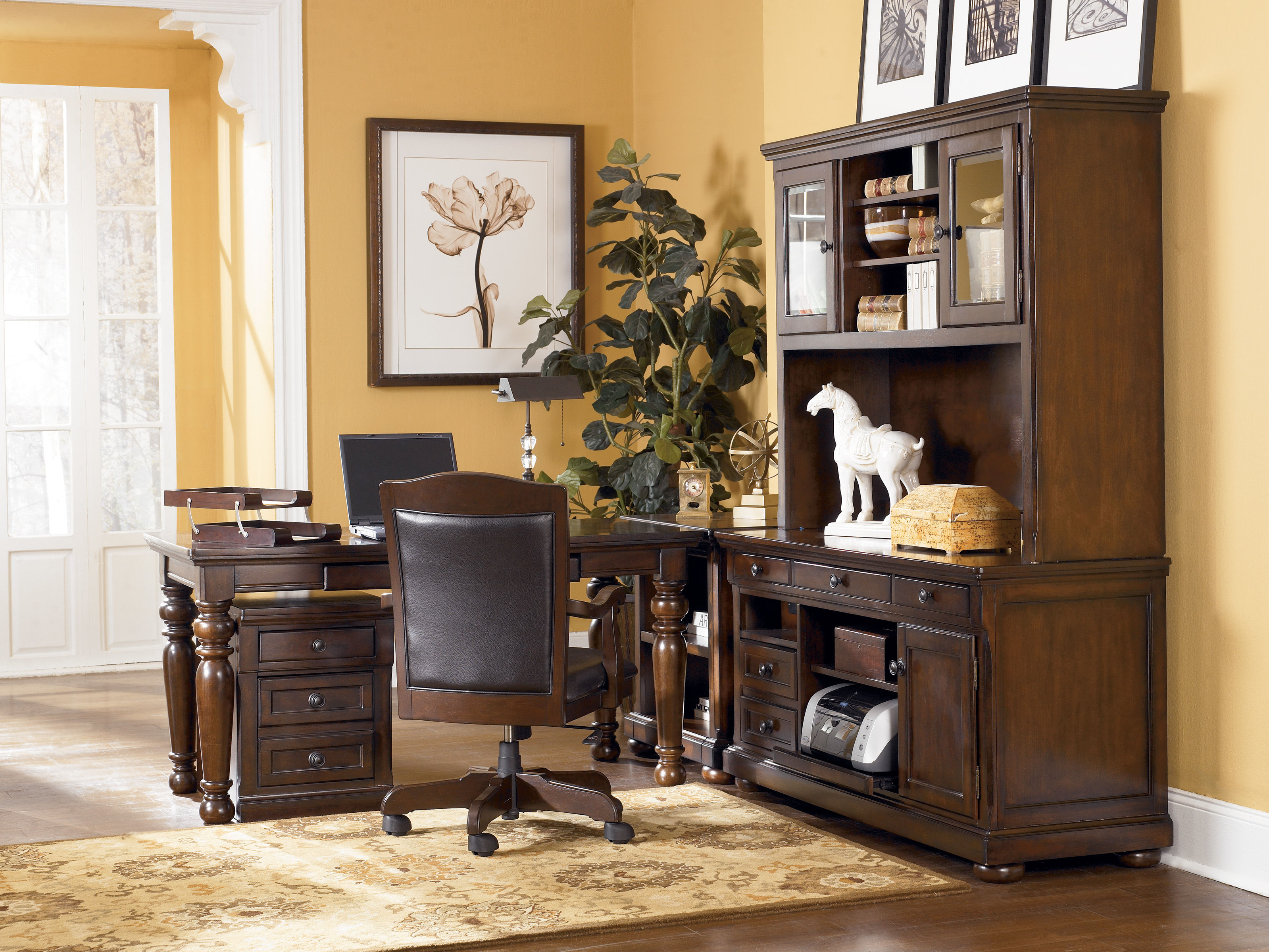 Porter Traditional Brown Wood PVC Office Furniture Set  : H697 44 49 47 46 12 01A SD from www.theclassyhome.com size 3198 x 2400 jpeg 1265kB