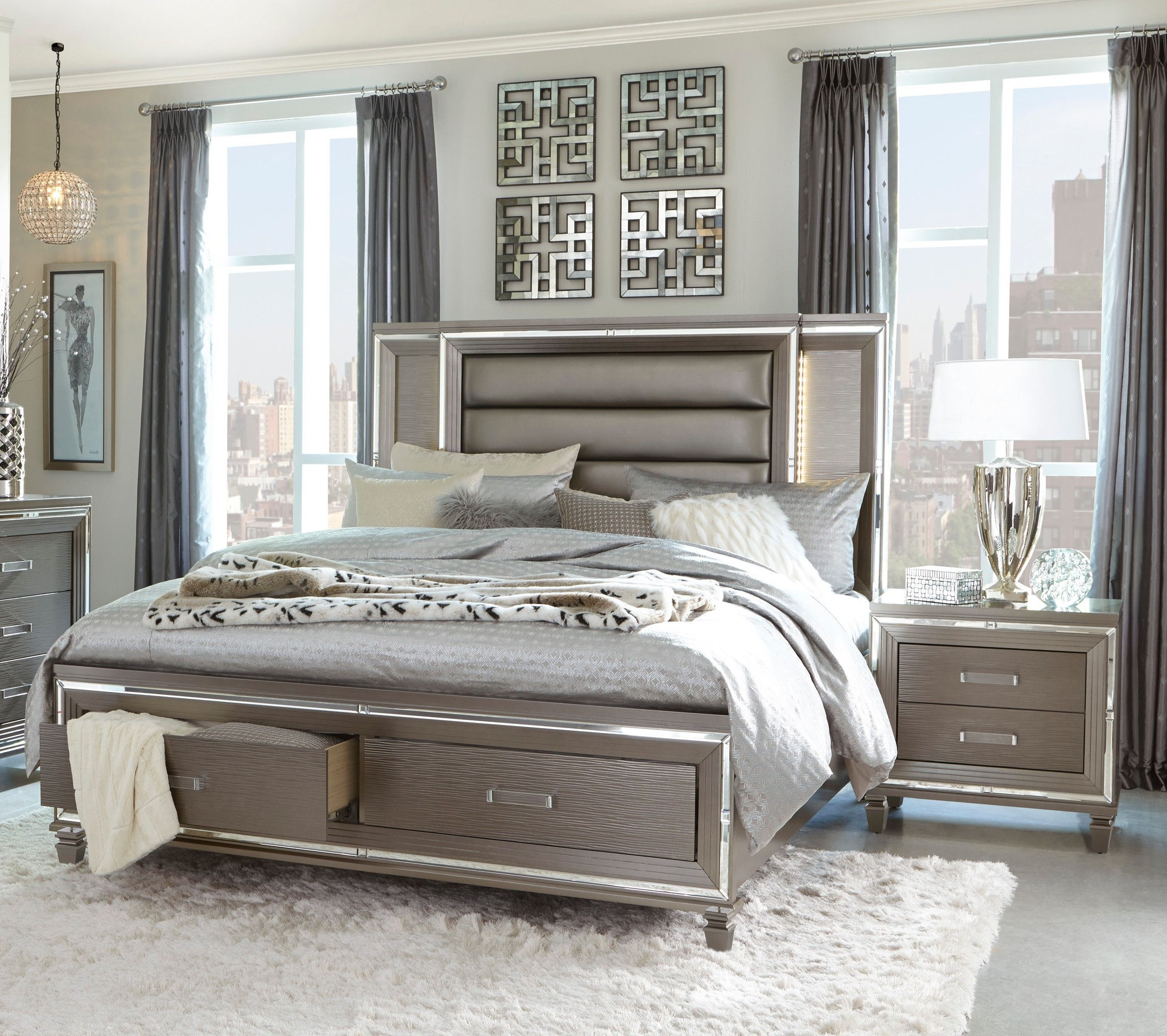 home elegance tamsin silver grey 2pc bedroom set with king platform bed   the classy home