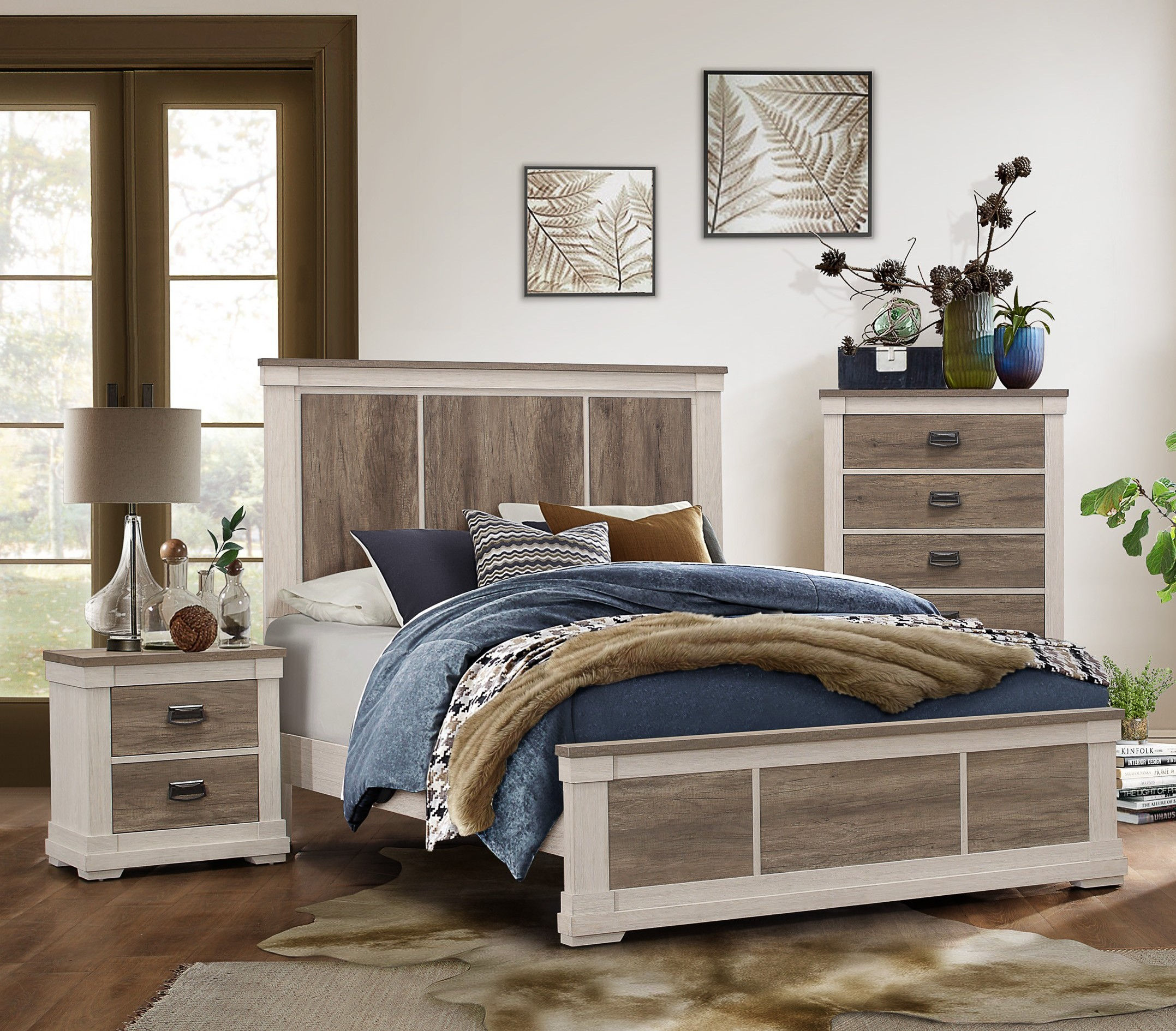 Home Elegance Arcadia White Weathered Gray 2pc Bedroom Set with Twin Bed