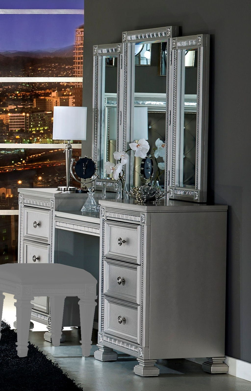 Home Elegance Bevelle Silver Vanity Desk With Mirrors The Classy