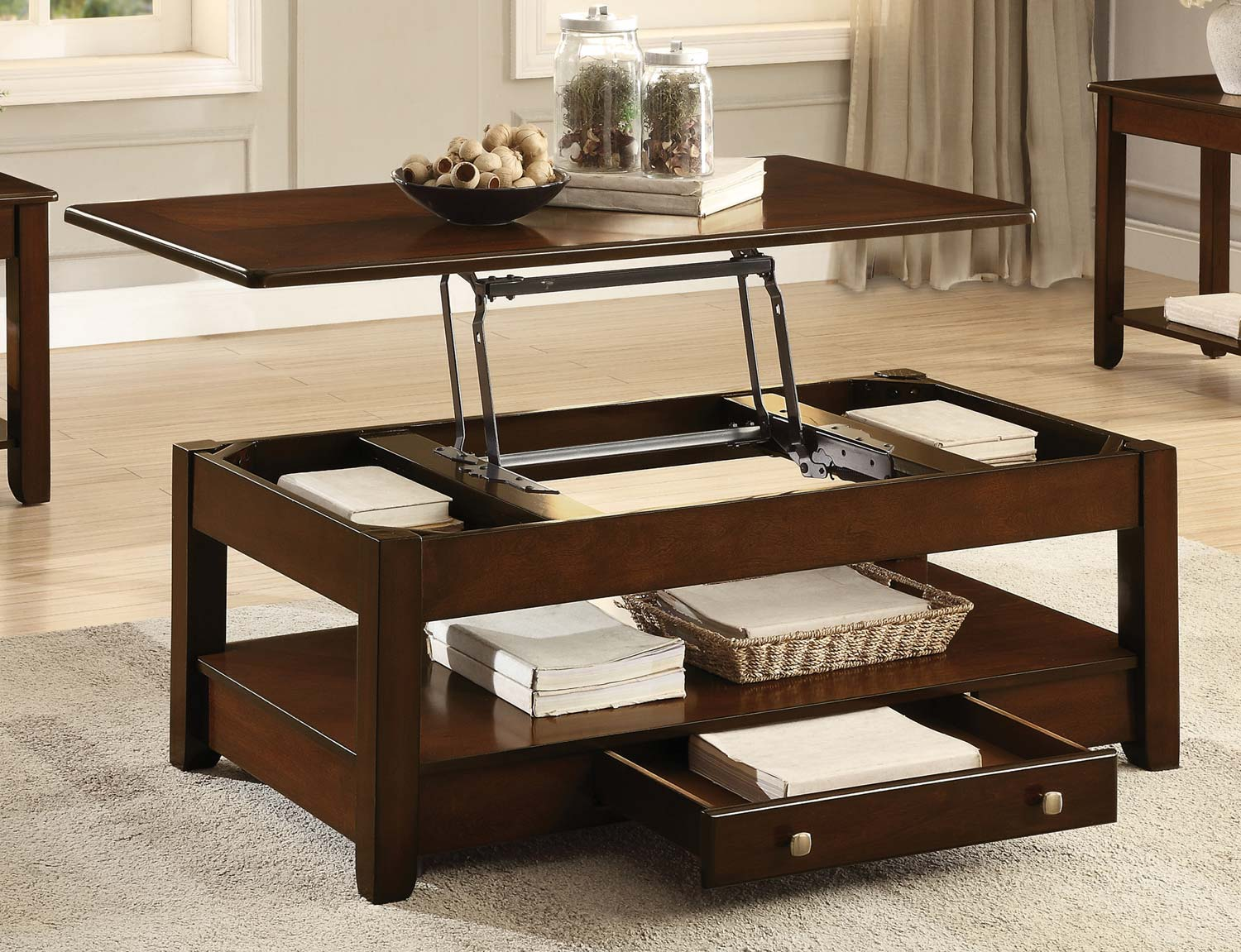 Home Elegance Ballwin Cherry Cocktail Table With Lift Top And