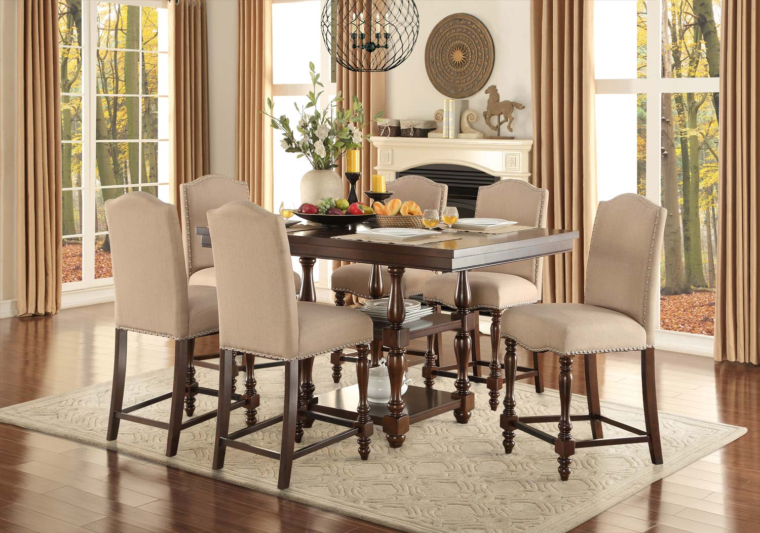 Home Elegance Benwick Cherry 7pc Counter Height Set