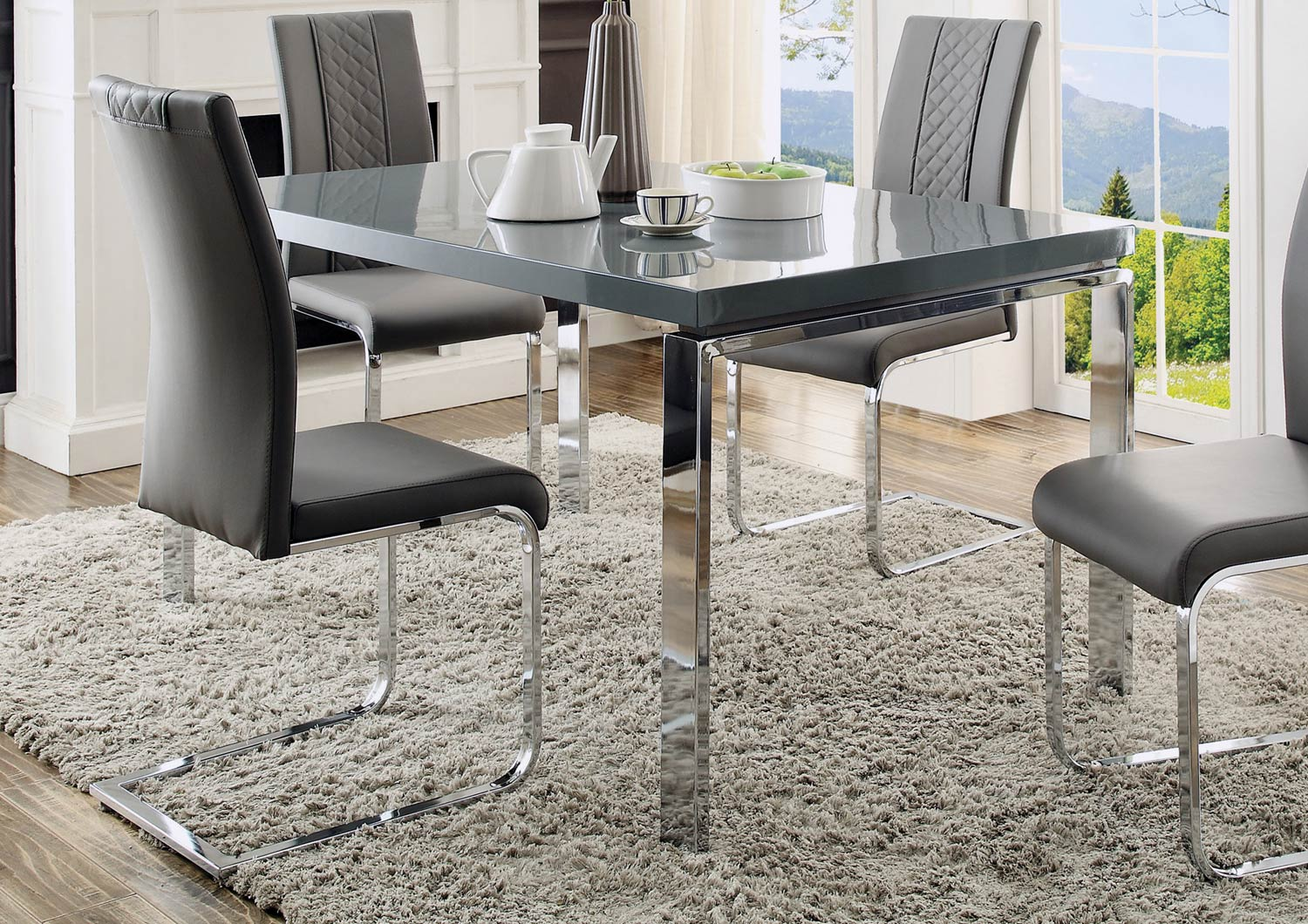 High Quality Miami Contemporary High Gloss Grey Top Chrome Metal Dining Table Click To  Enlarge ...
