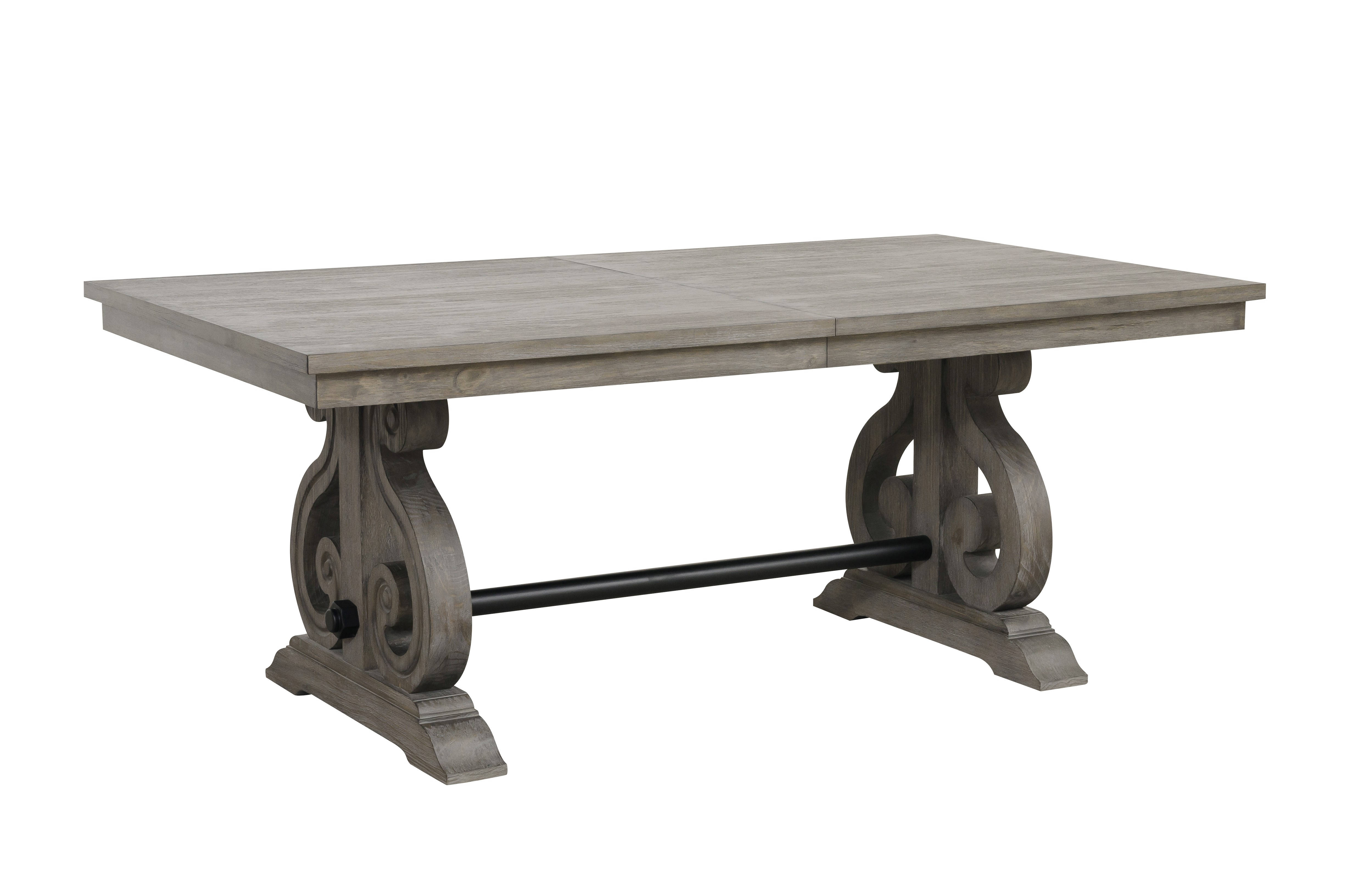 Home Elegance Toulon Dark Pewter Trestle Dining Table
