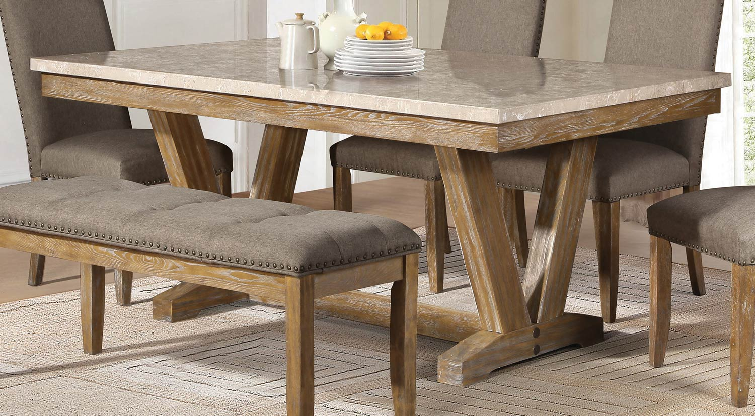 Granite Top Kitchen Table Set: Home Elegance Jemez Weathered Dining Table