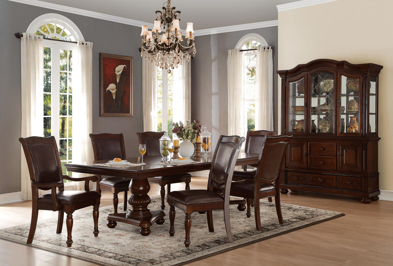 lordsburg dark brown faux leather cherry wood 7pc dining