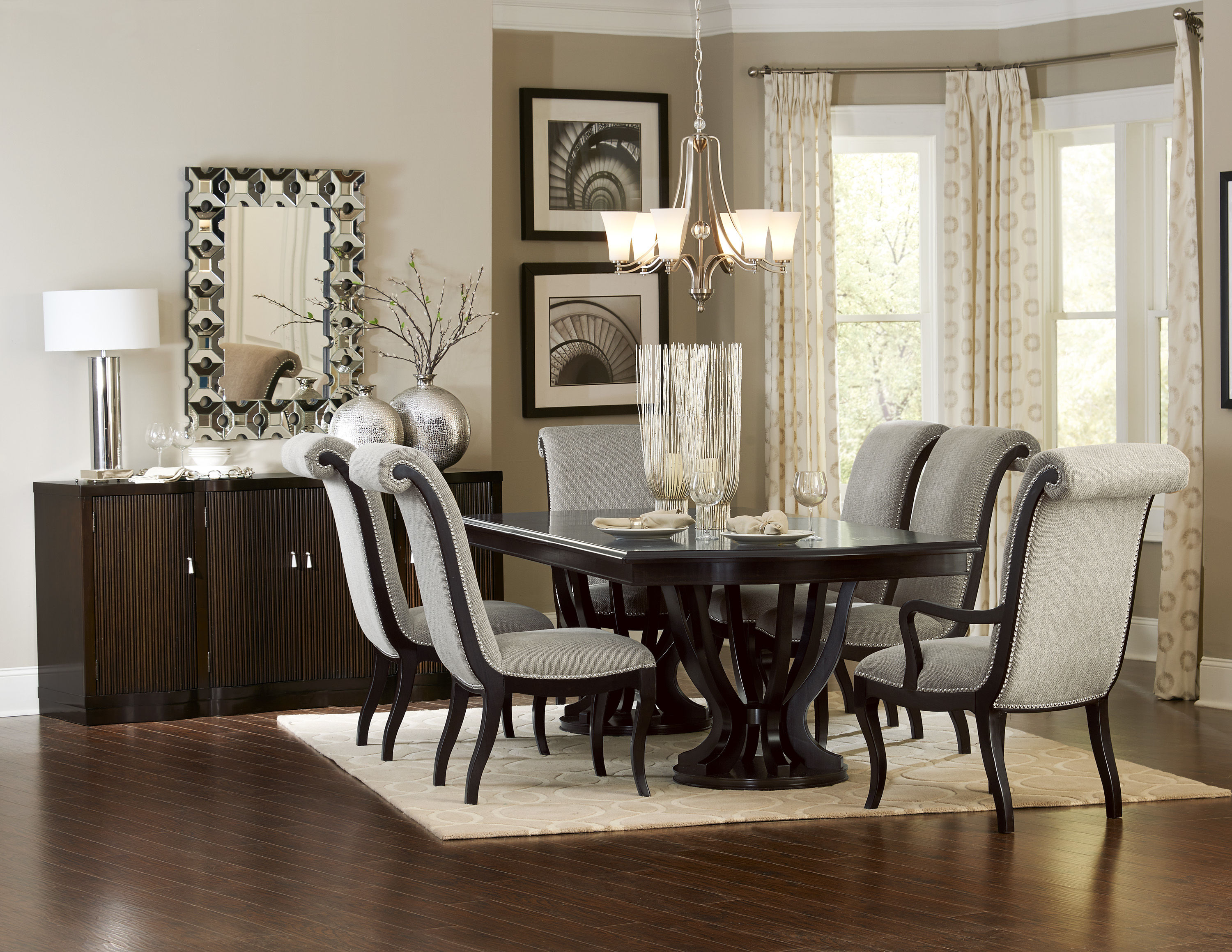 Home Elegance Savion Espresso 7pc Dining Room Set