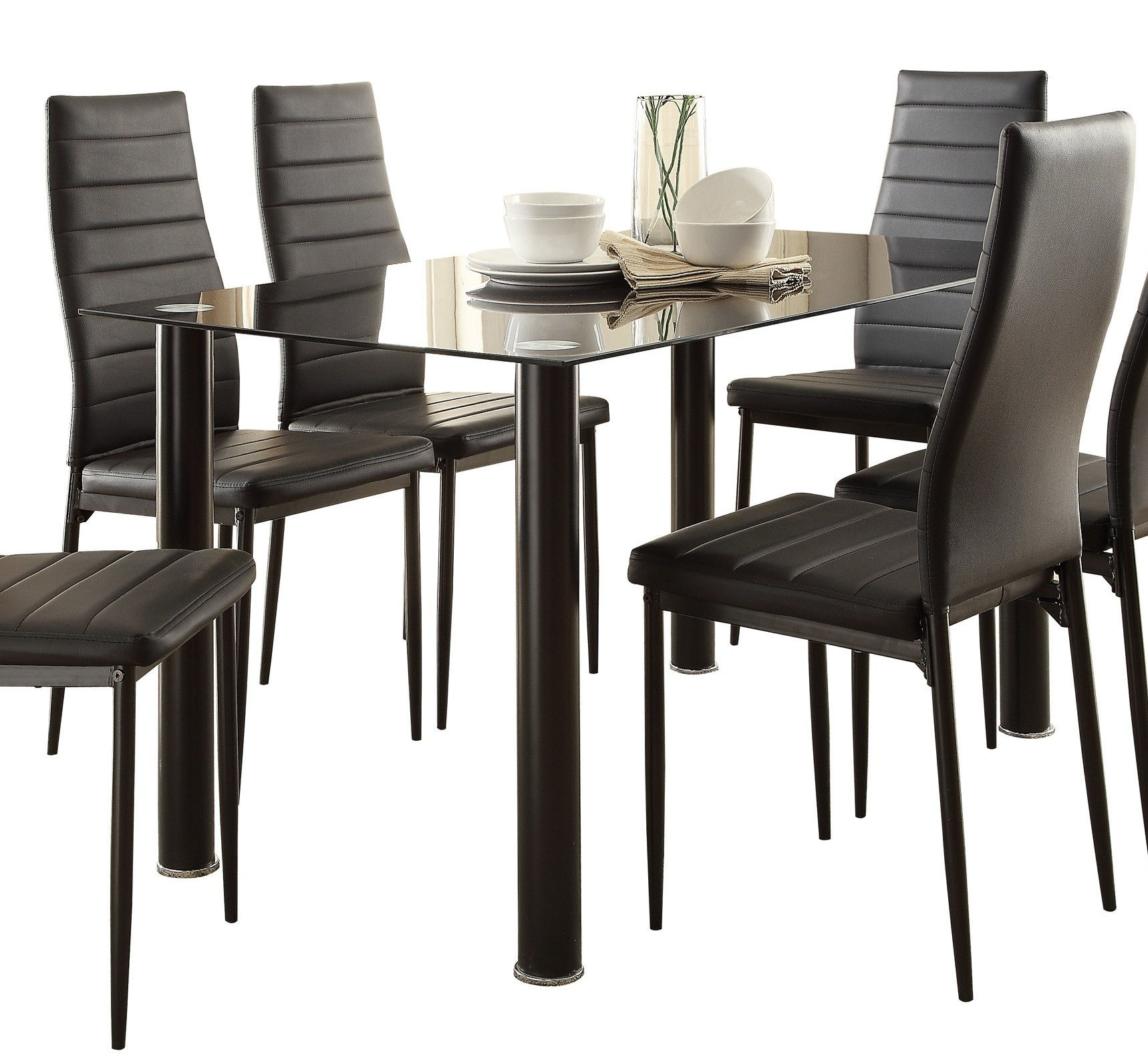 Home Elegance Florian Black Glass Top Dining Table