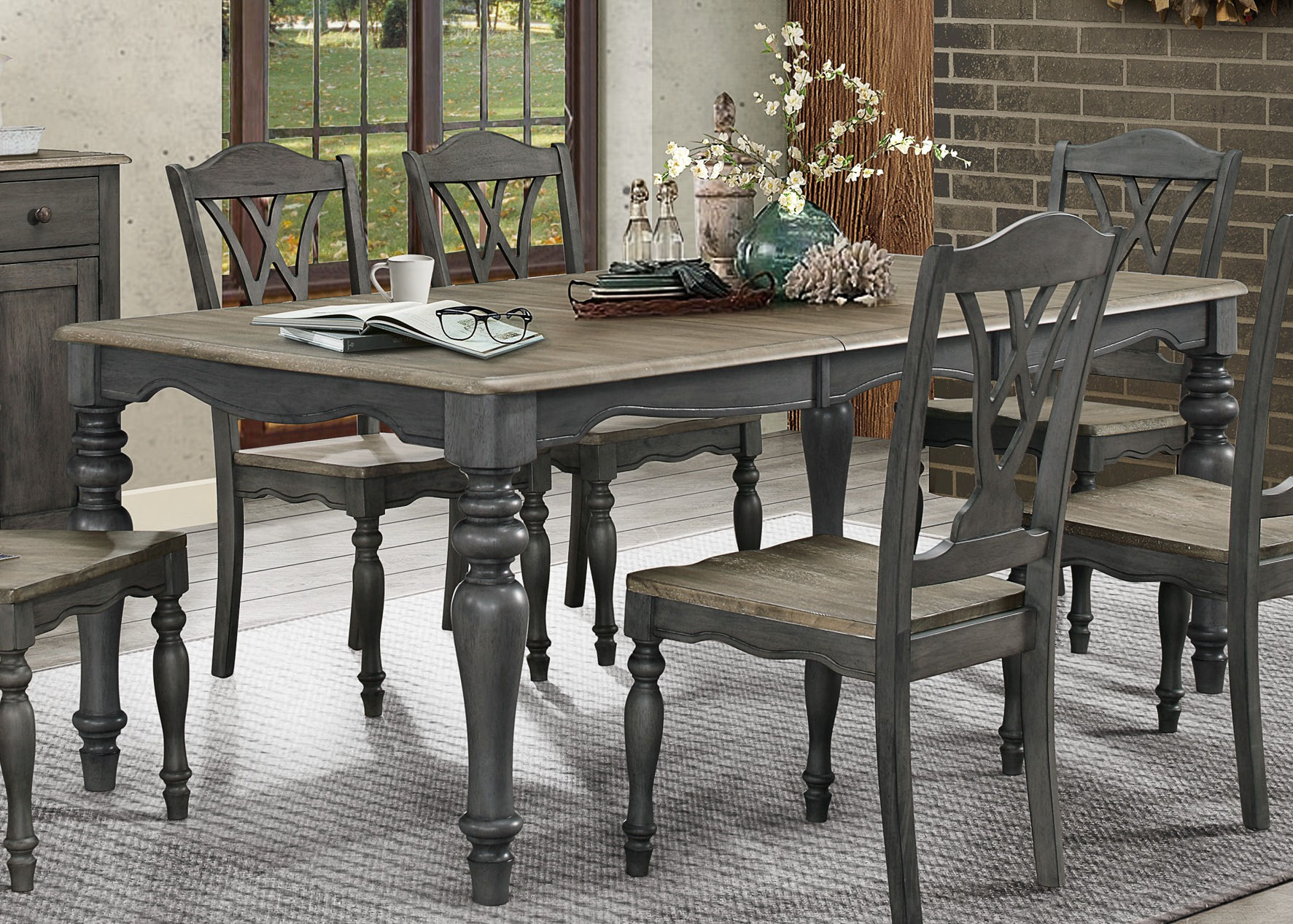 Home Elegance Hyacinth Oakwash Gray 18 Inch Butterfly Leaf Dining Table