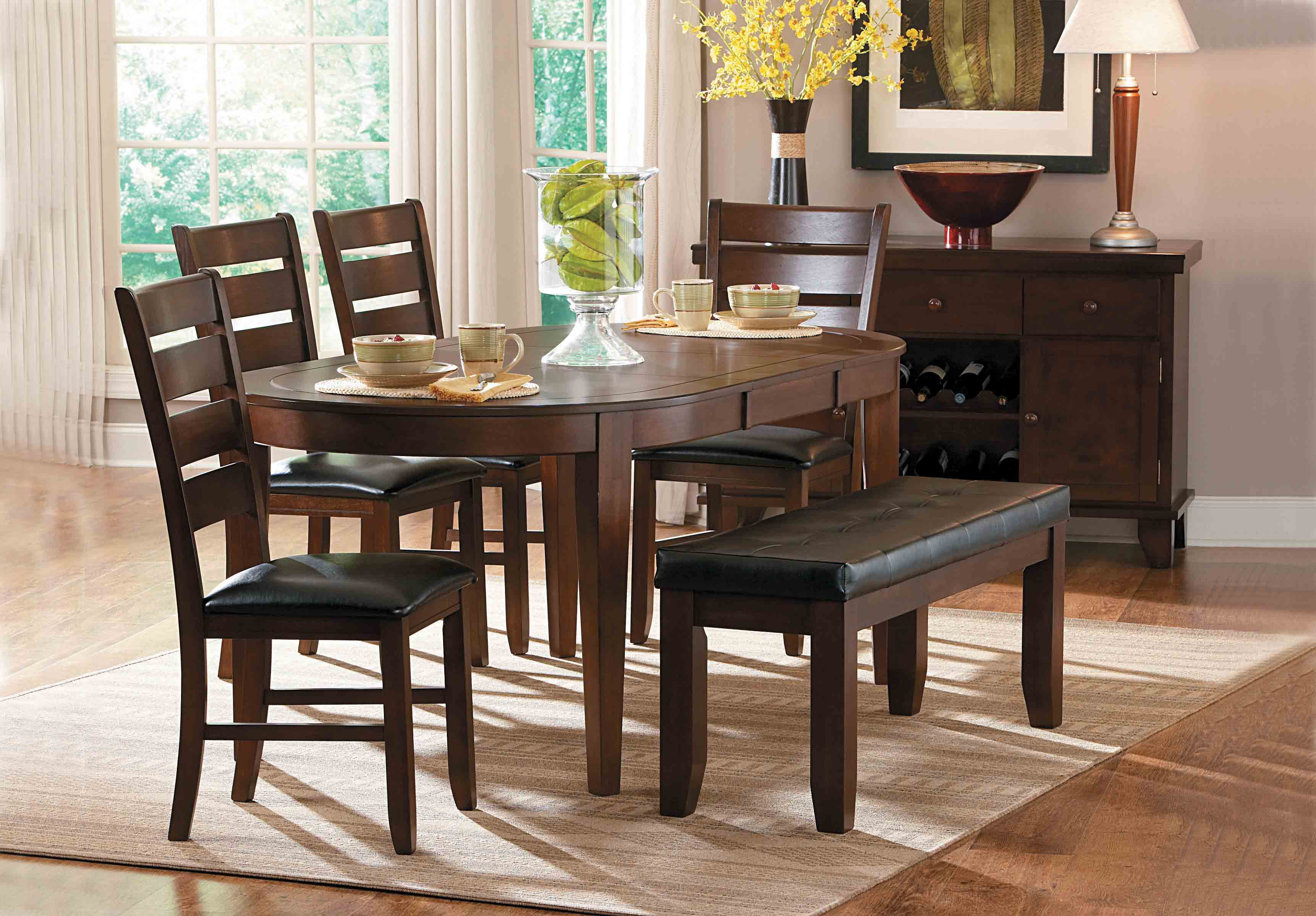 Home Elegance Ameillia Oak Brown Oval Dining Table The
